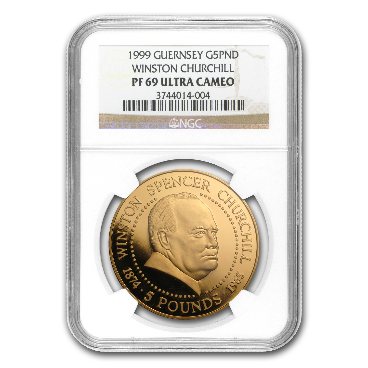 1999 Guernsey Proof Gold £5 Churchill PF-69 NGC