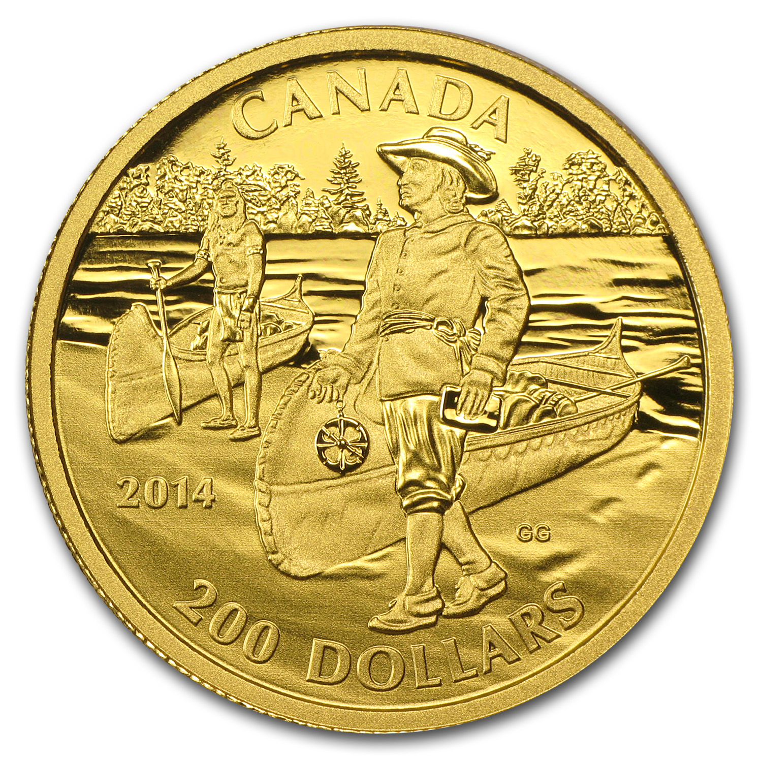 2014 Canada 1/2 oz Prf Gold Great Explorers Samuel de Champlain
