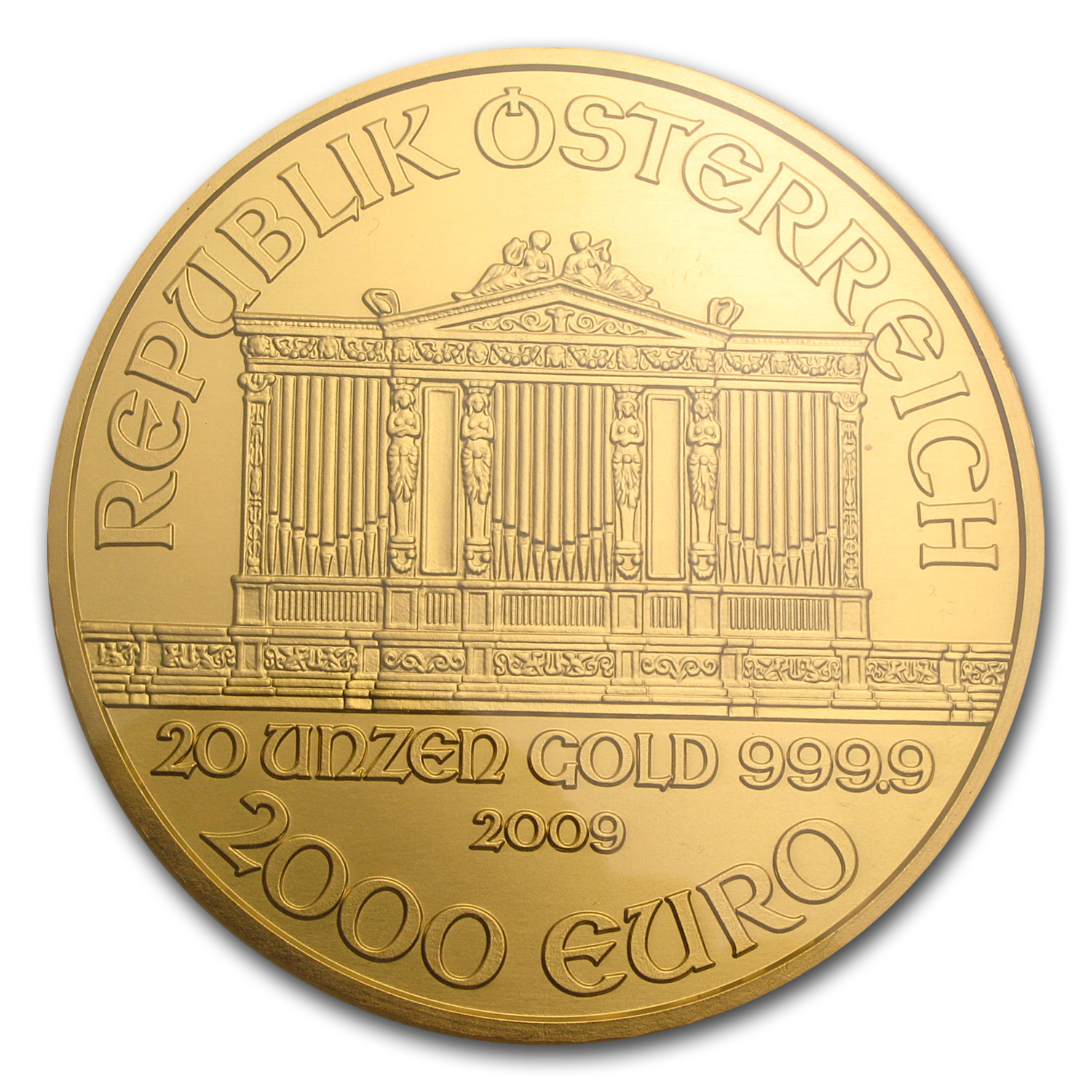 2009 20 oz Gold Austrian Philharmonic MS-66 NGC (20th Ann)