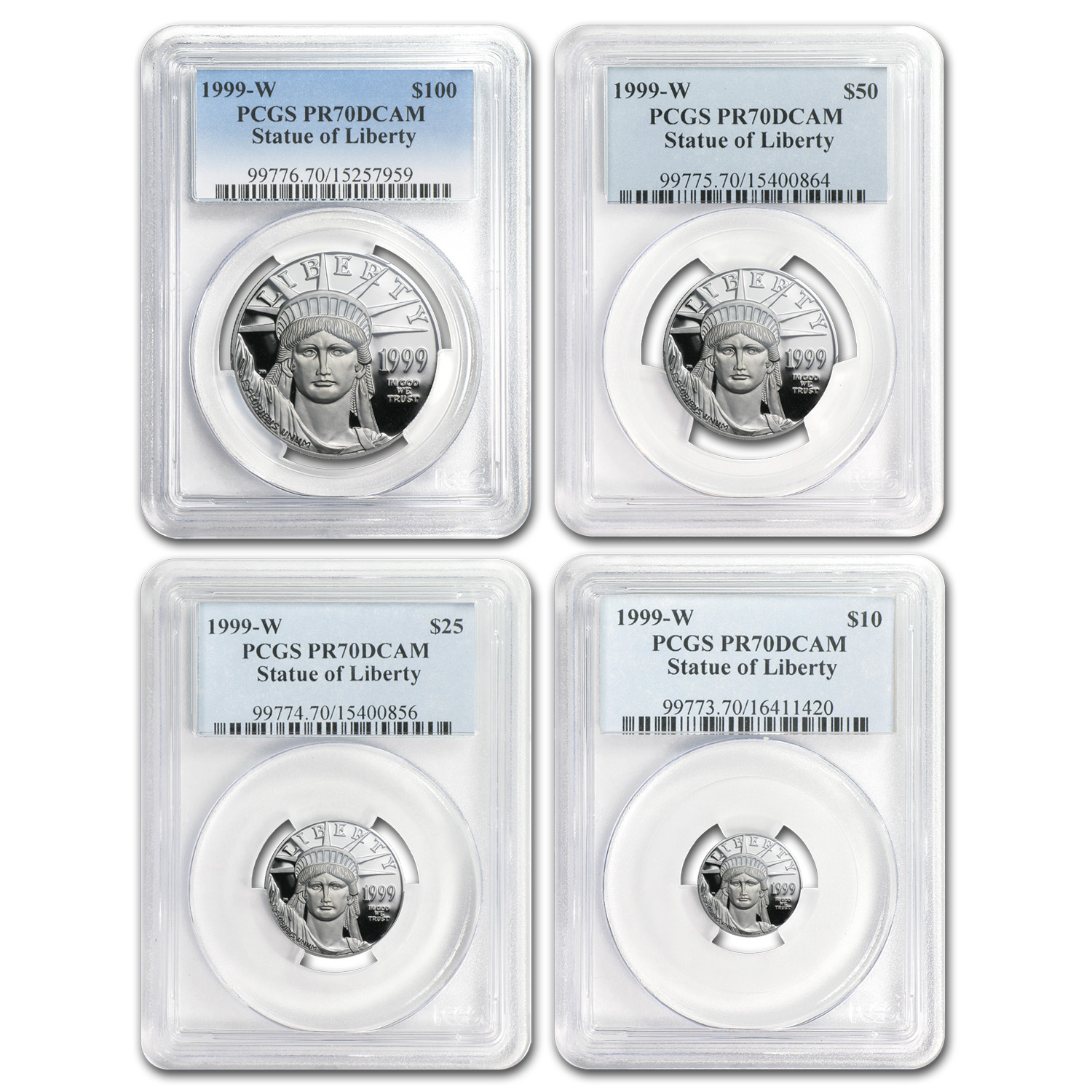 1999-W 4-Coin Proof Platinum American Eagle Set PR-70 PCGS