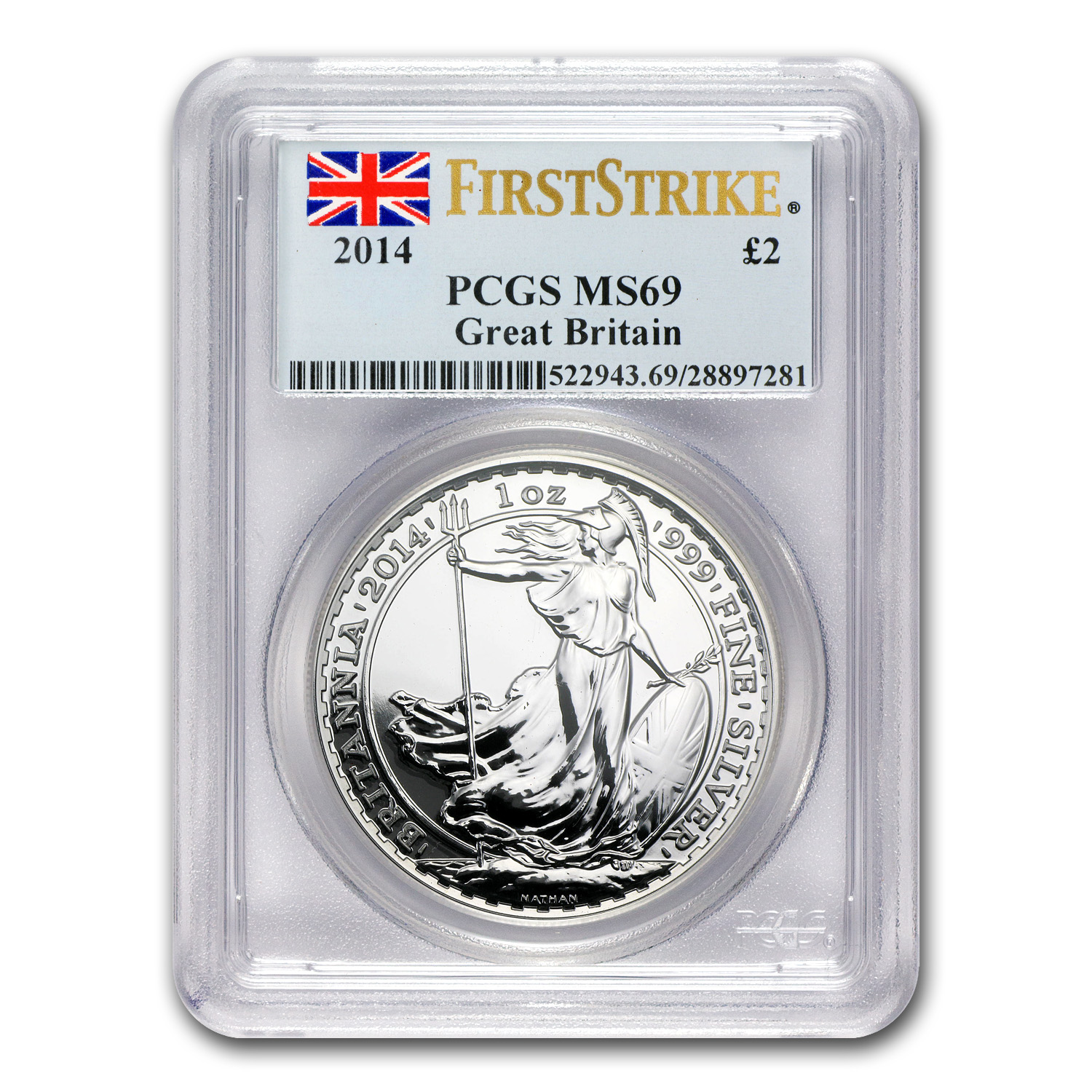 2014 1 oz Silver Britannia MS-69 PCGS (First Strike)