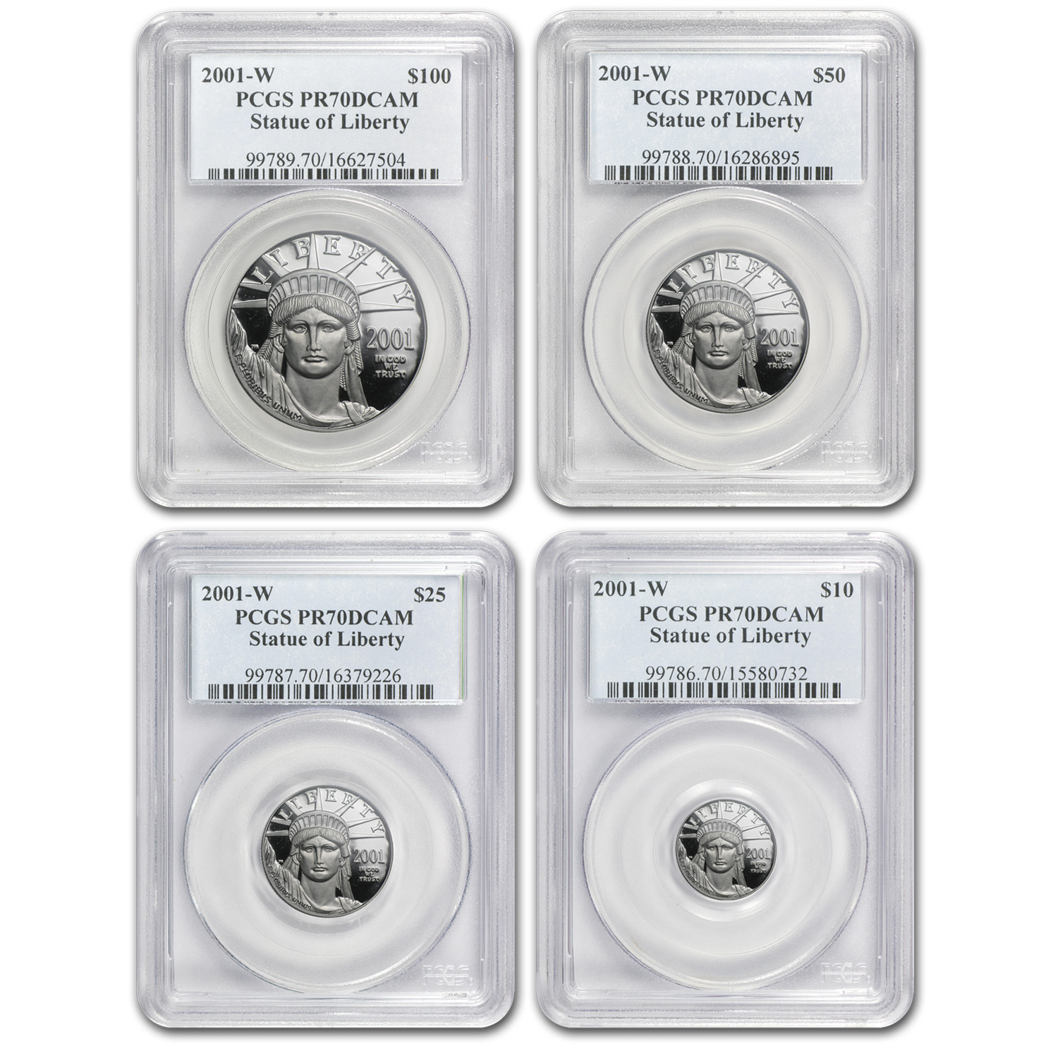 2001-W 4-Coin Proof Platinum American Eagle Set PR-70 PCGS
