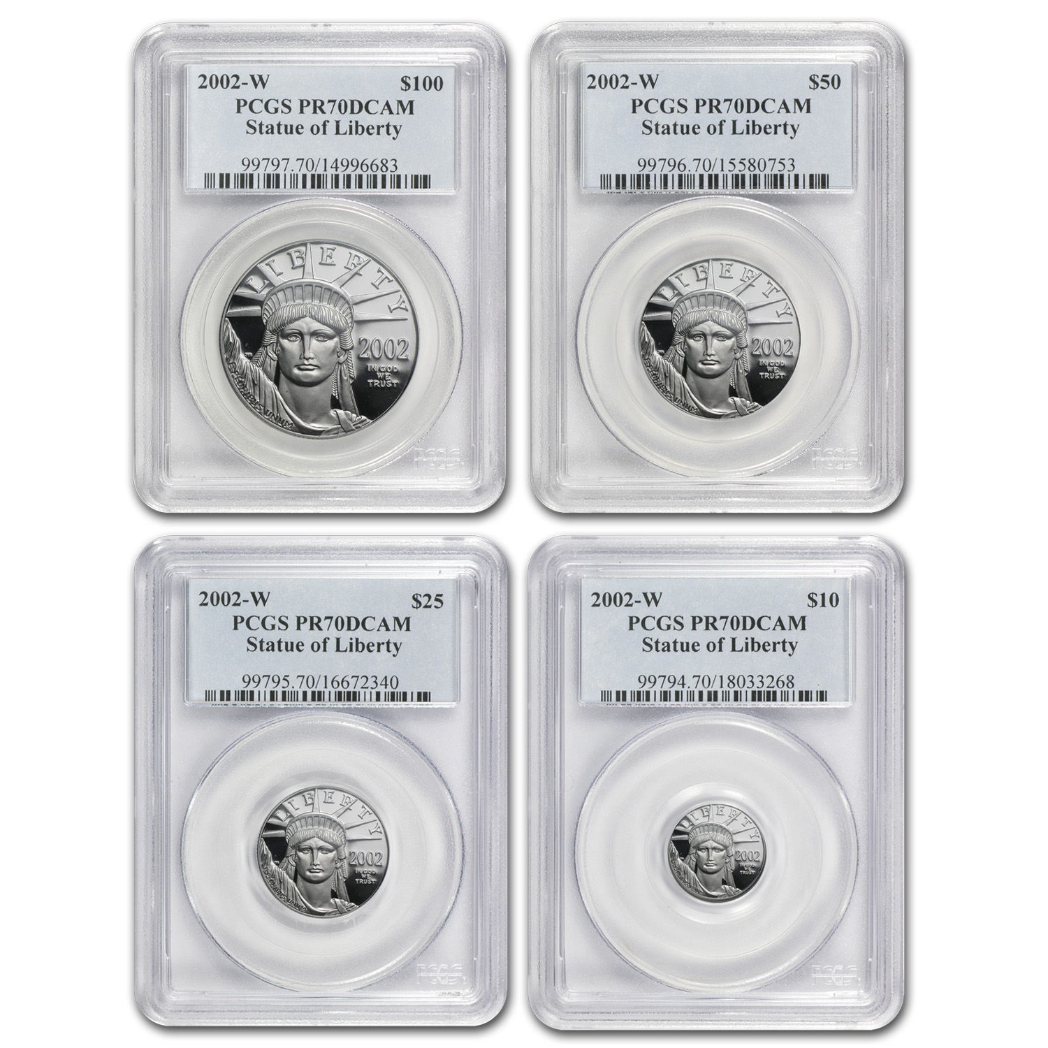 2002-W 4-Coin Proof Platinum American Eagle Set PR-70 PCGS