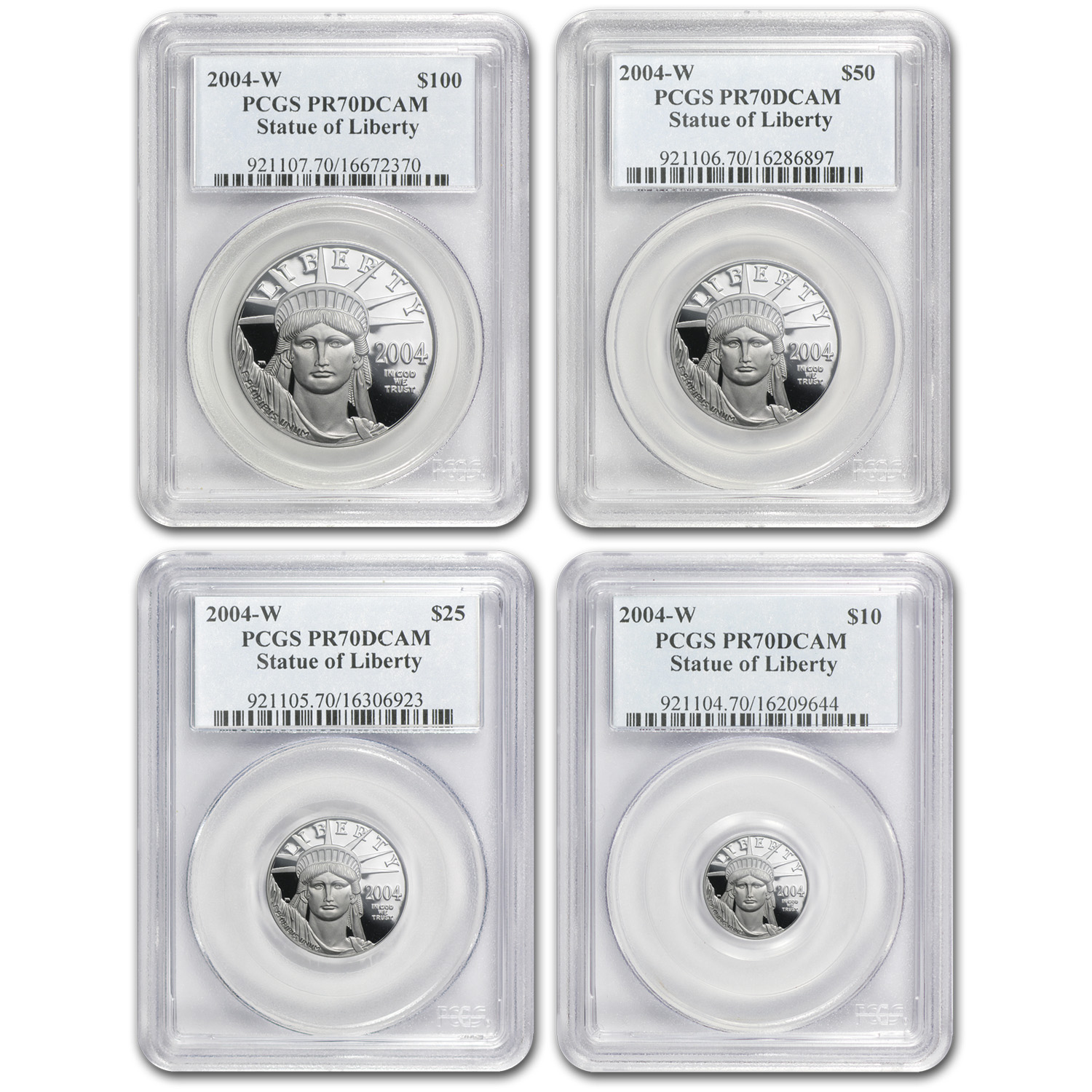 2004-W 4-Coin Proof Platinum American Eagle Set PR-70 PCGS