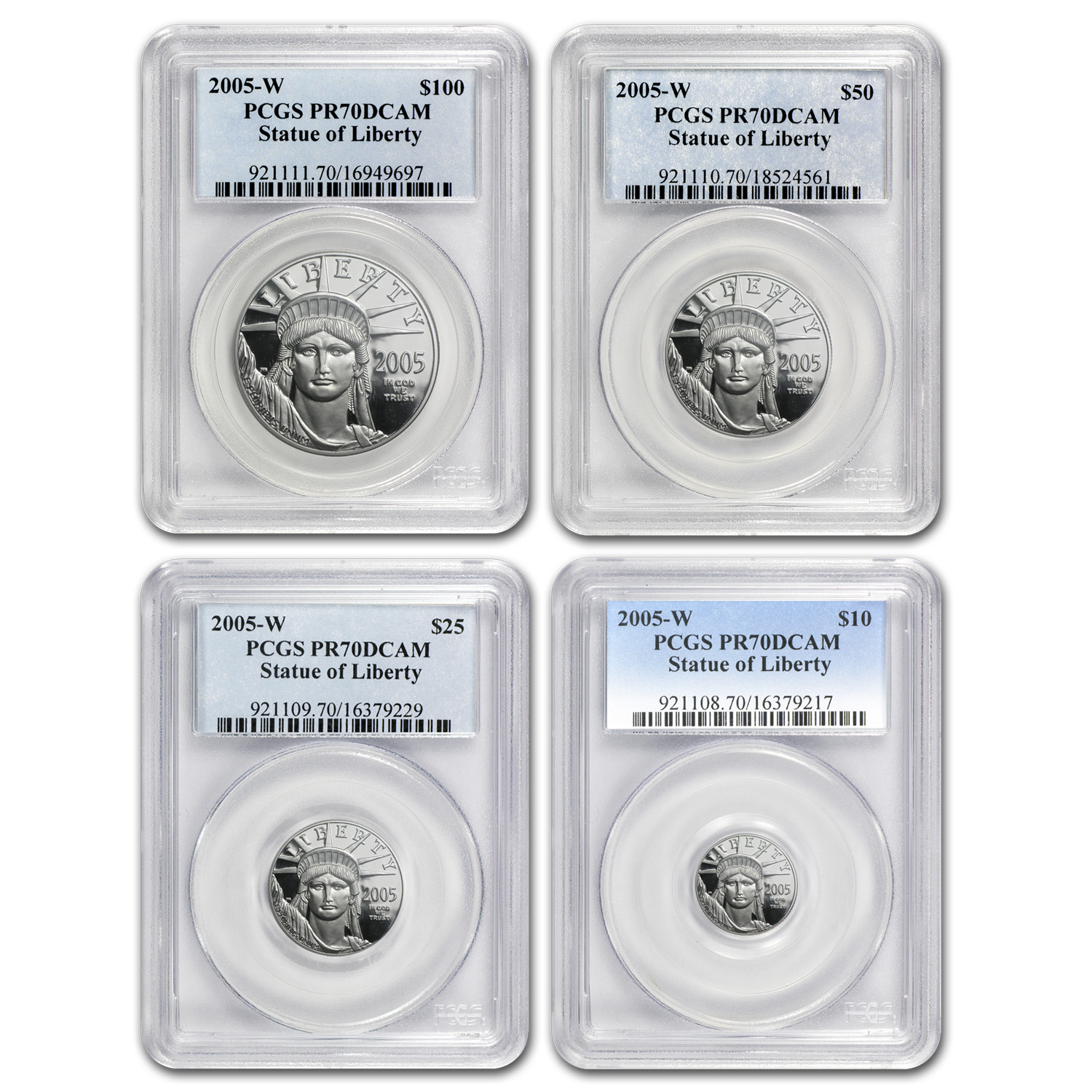 2005-W 4-Coin Proof Platinum American Eagle Set PR-70 PCGS