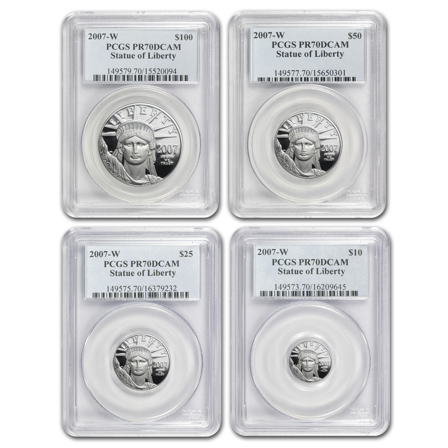 2007-W 4-Coin Proof Platinum American Eagle Set PR-70 PCGS