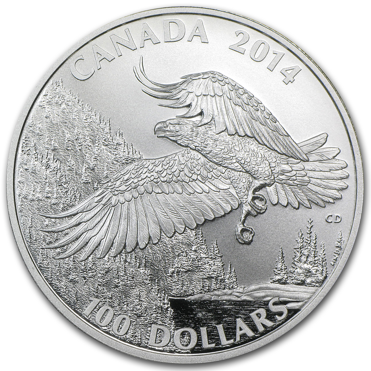 2014 Canada 1 oz Silver $100 Majestic Bald Eagle