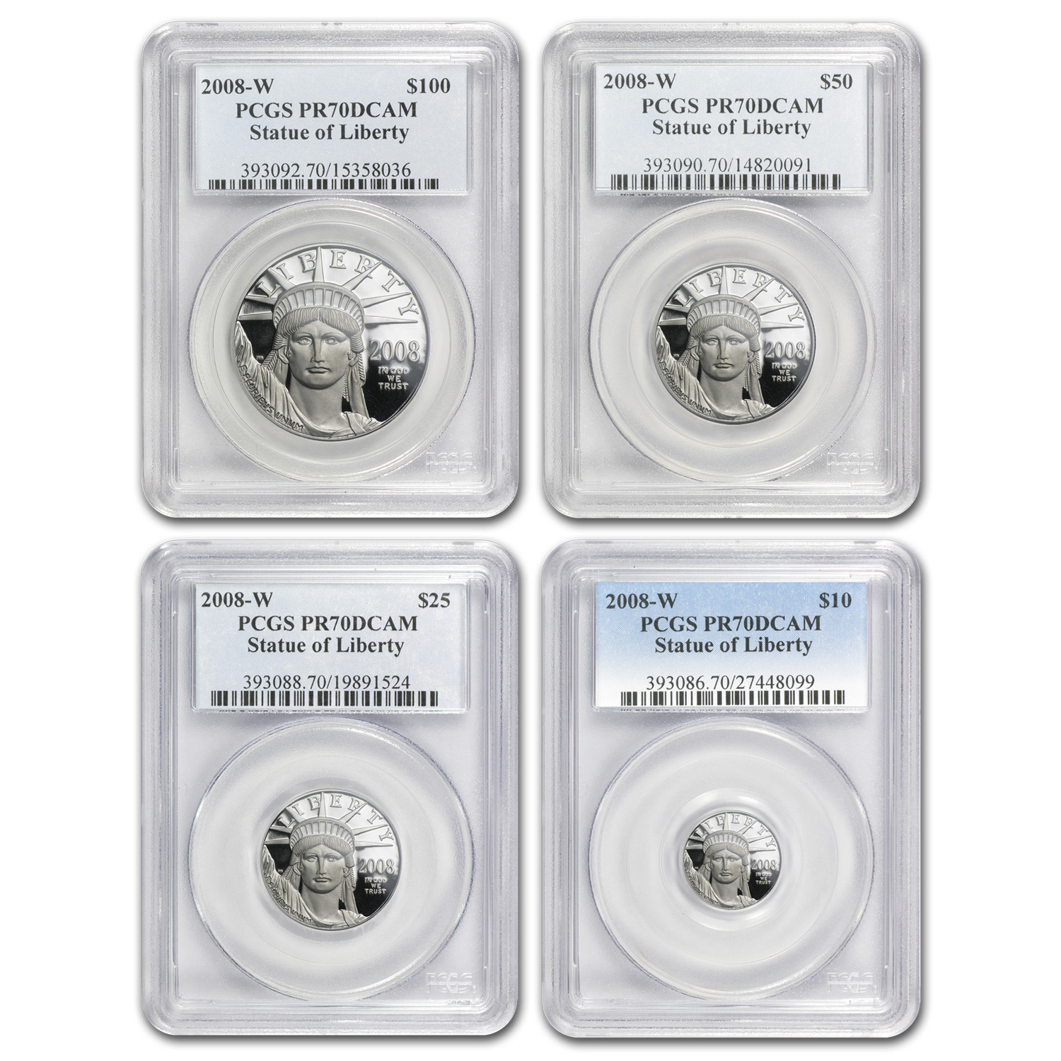 2008-W 4-Coin Proof Platinum American Eagle Set PR-70 PCGS