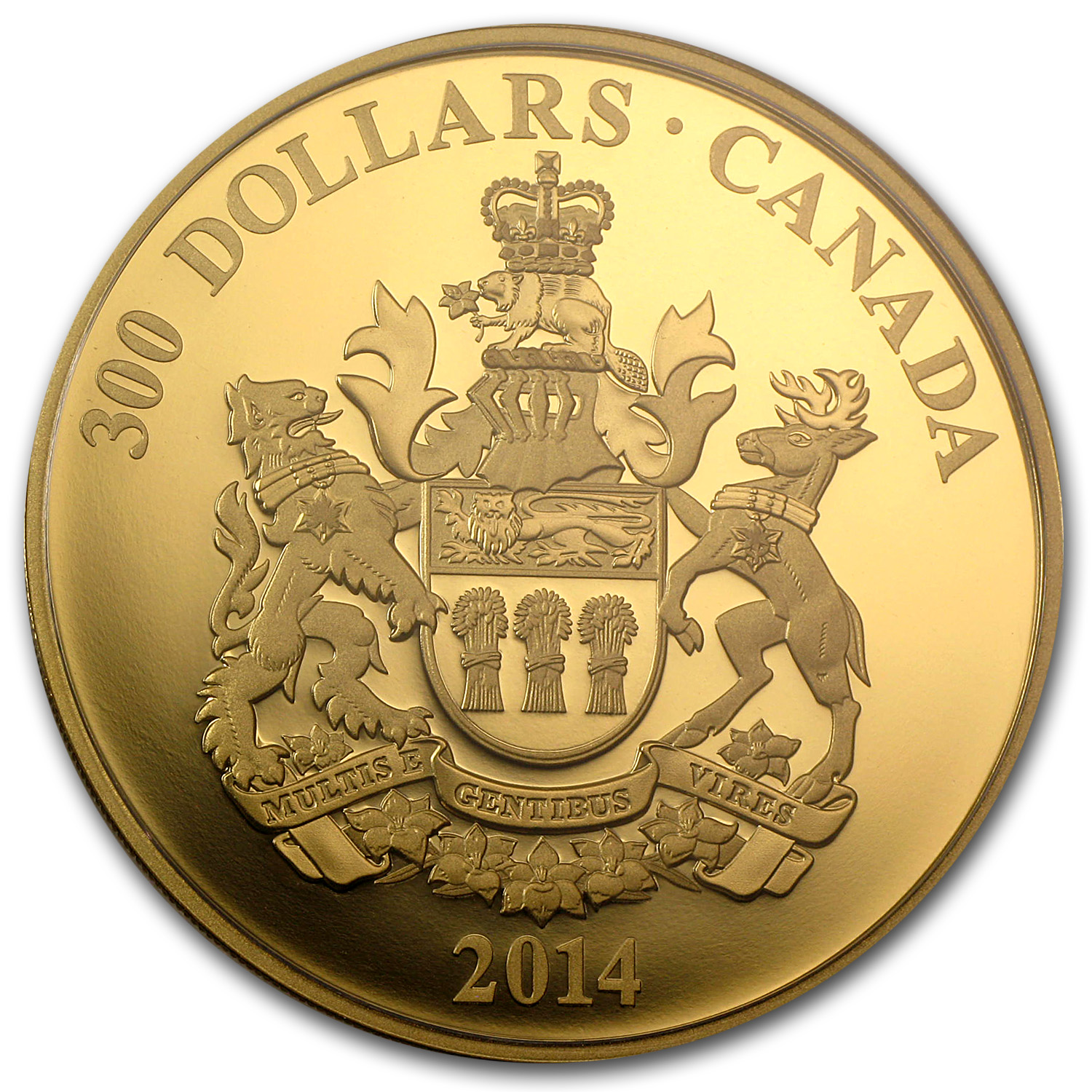 2014 Canada Proof Gold $300 Saskatchewan Coat of Arms