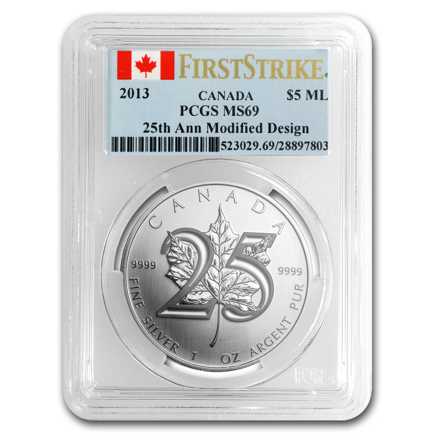 2013 1 oz Silver Canadian Maple Leaf - 25th Anniv.- MS-69 PCGS FS