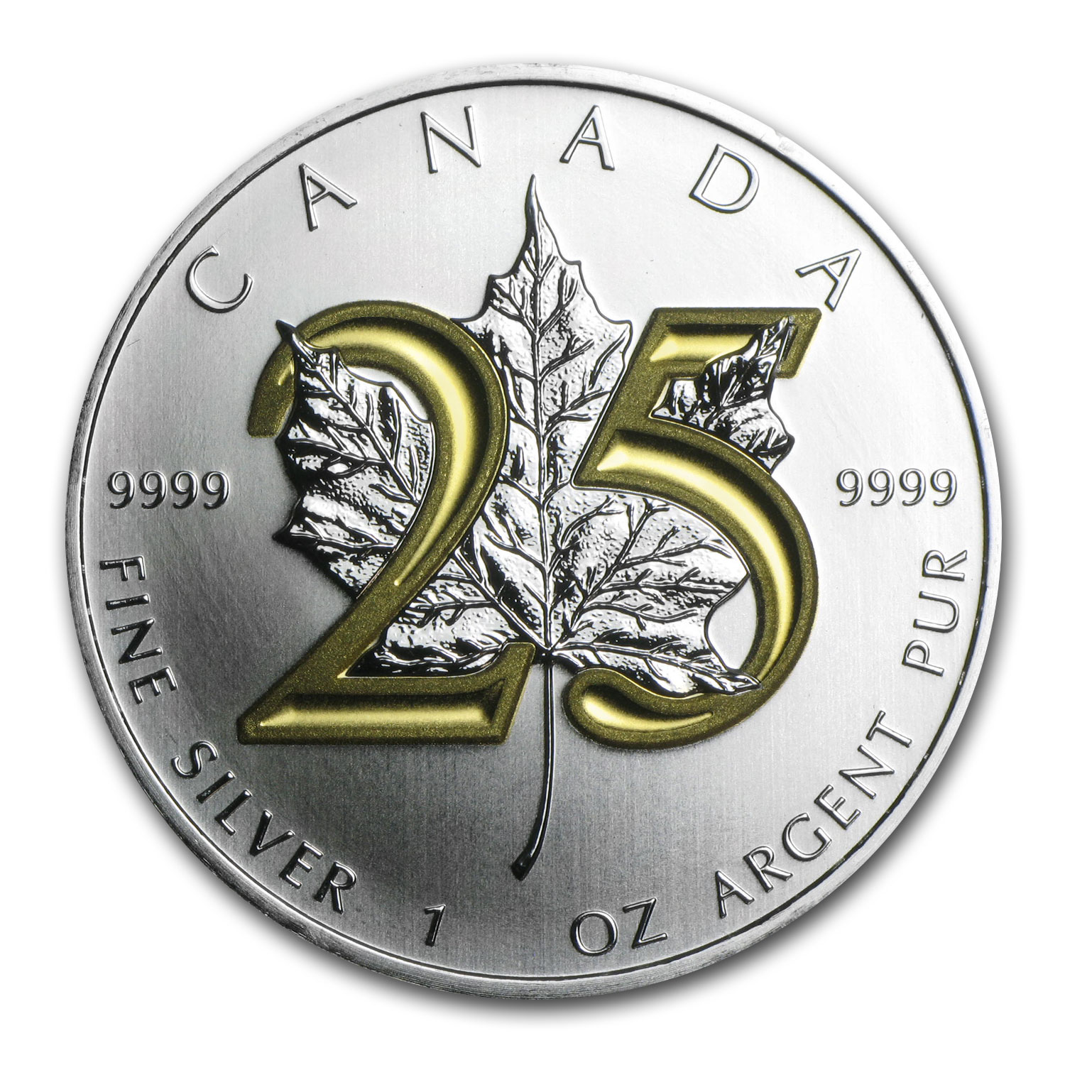 2013 1 oz Silver Canadian Maple Leaf (25th Anniv, Gilded)