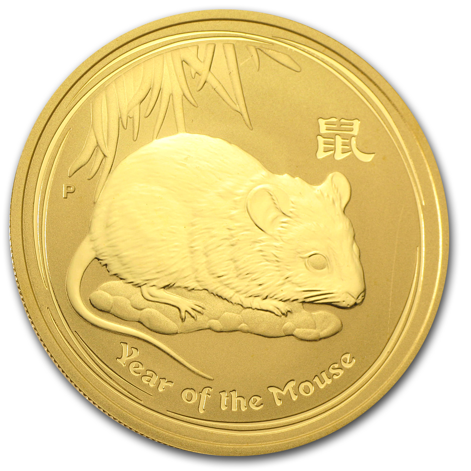 2008 1 oz Gold Lunar Year of the Mouse SII (Light Abrasions)