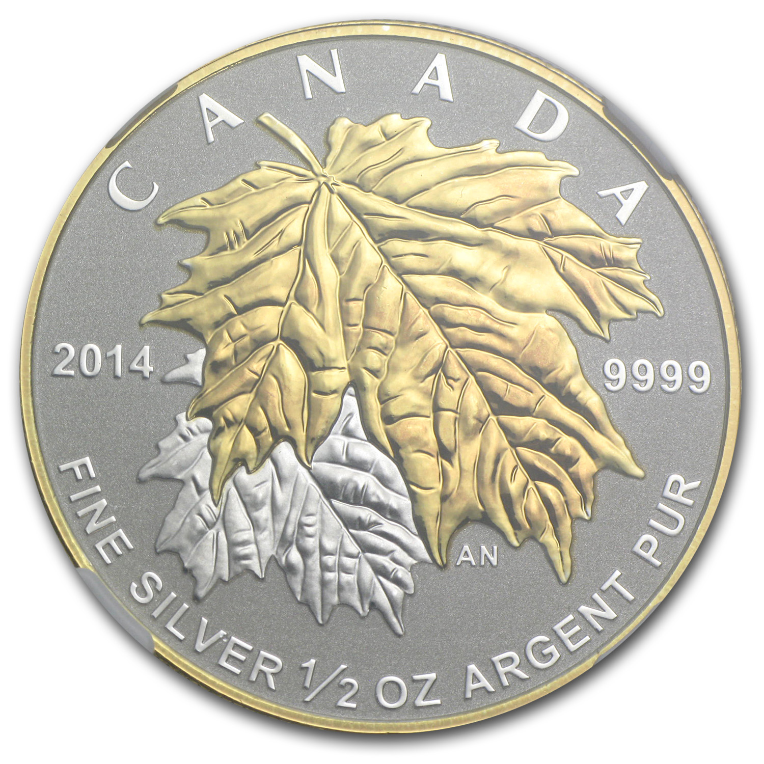2014 Canada 1/2 oz Silver $4 Maple Leaf Gilt PF-70 NGC