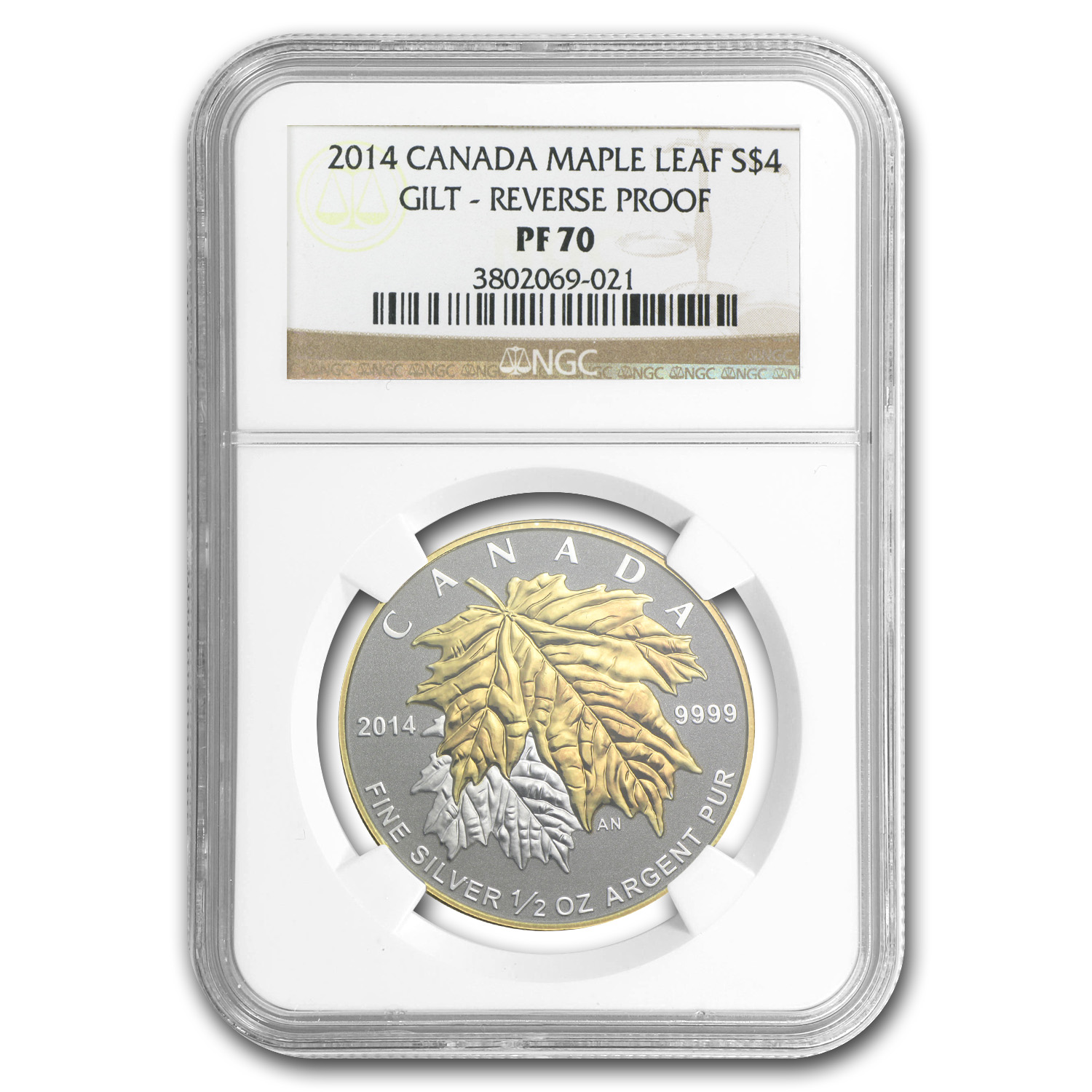 2014 1/2 oz Silver Canadian $4 Maple Leaf Gilt PF-70 NGC