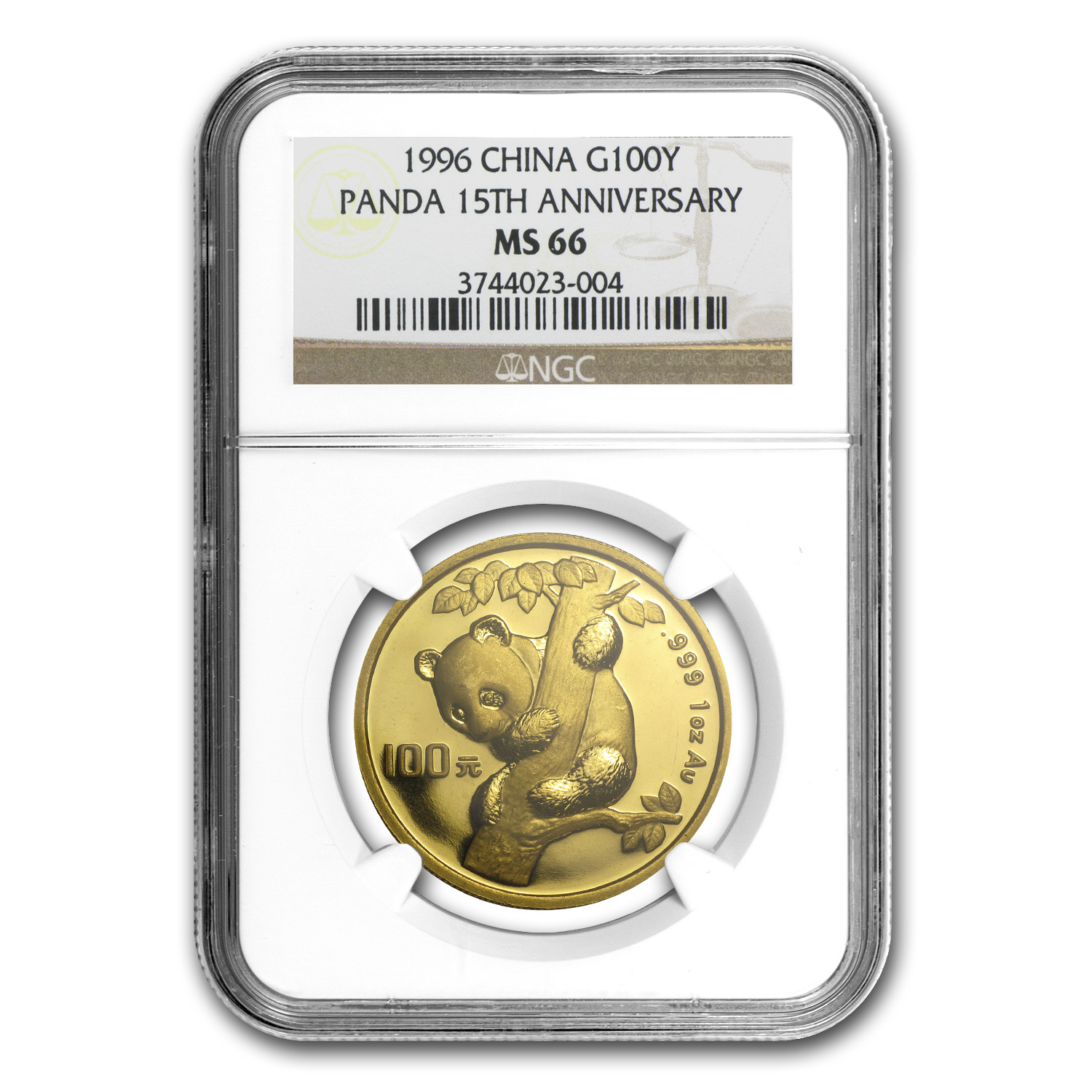 1996 China 1 oz Gold Panda MS-66 NGC (15th Anniv)