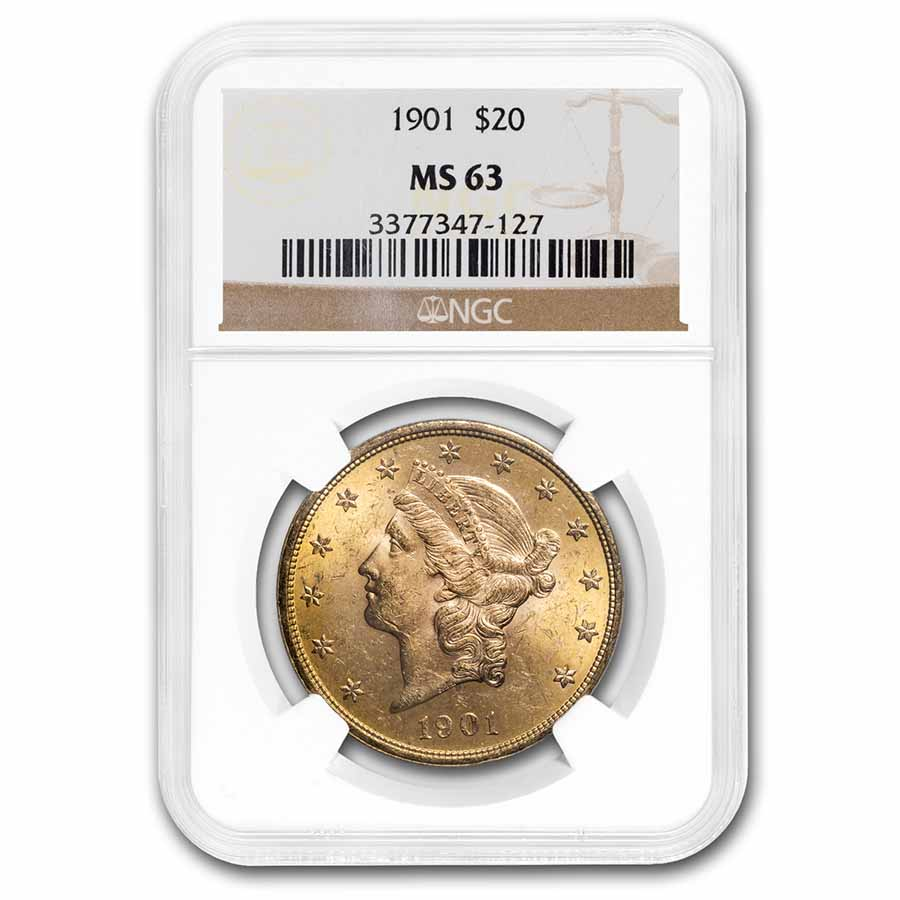 1901 $20 Liberty Gold Double Eagle MS-63 NGC