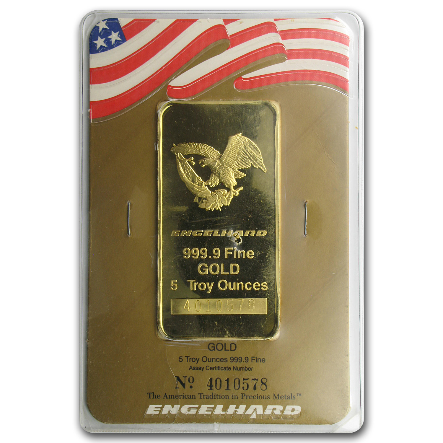5 oz Gold Bar - Engelhard ('Eagle' logo, in Assay Card)