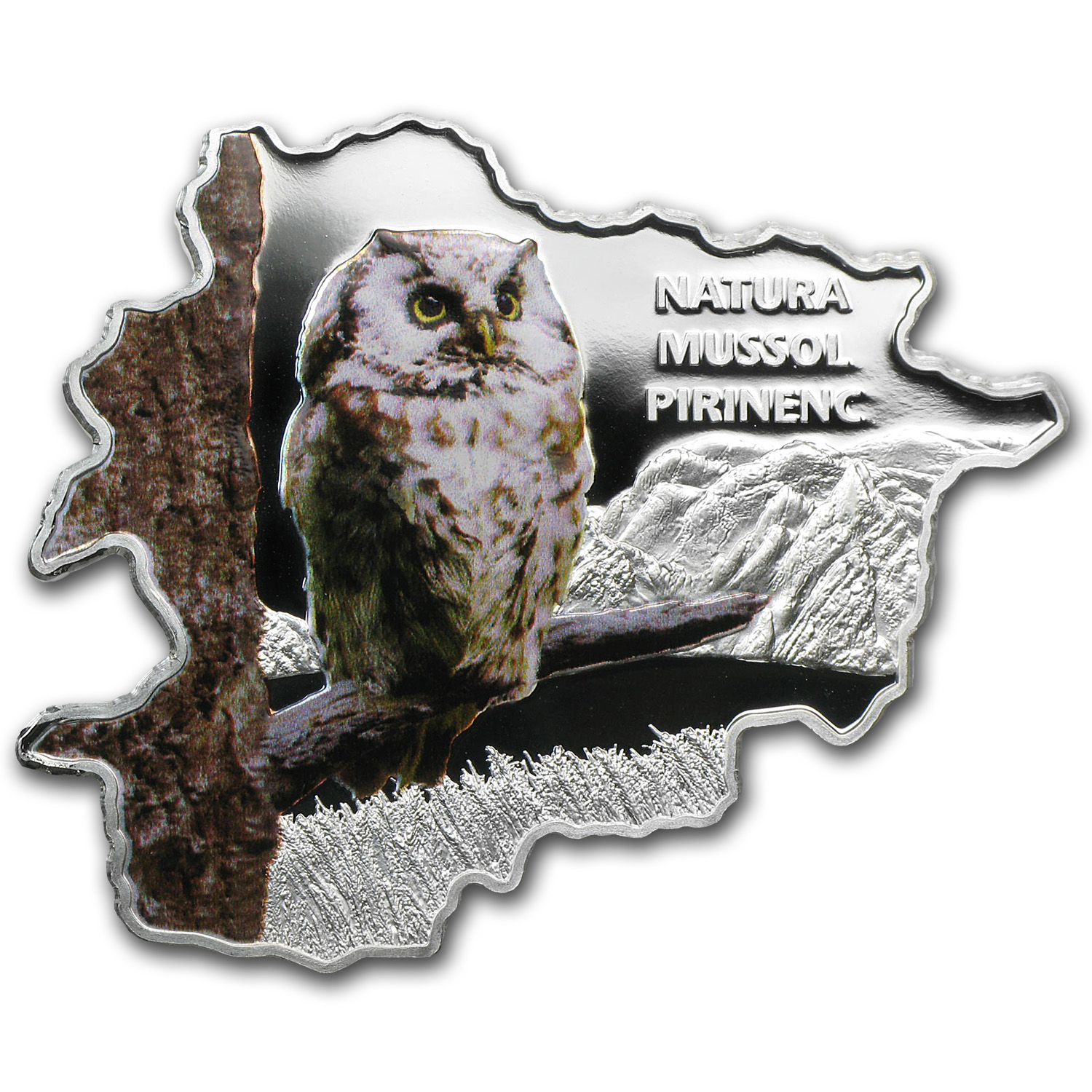 2013 Andorra Proof Silver Nature Treasure Map Shape Owl