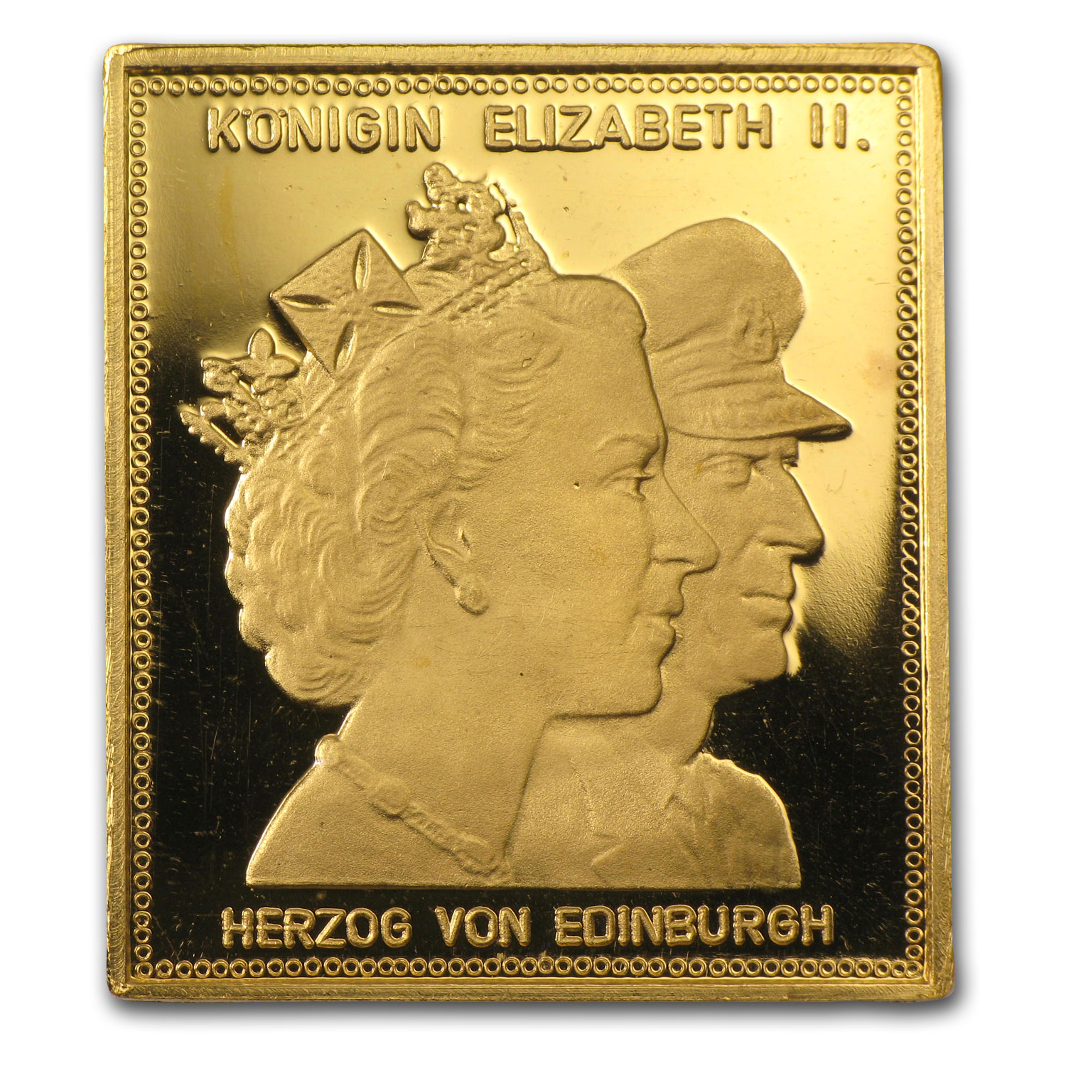 1/4 oz Gold Square - Elizabeth II & Duke Edinburgh (.986 Fine)
