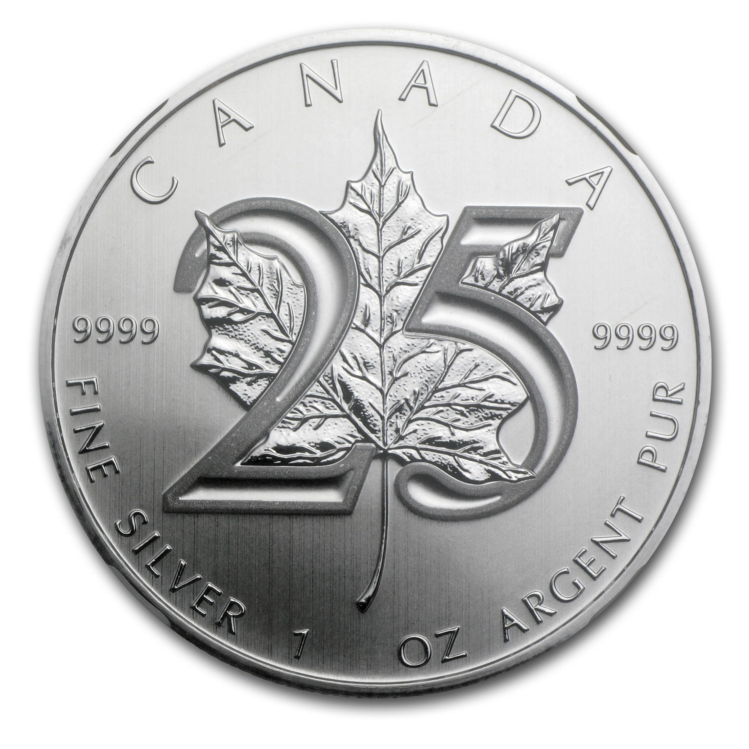 2013 1 oz Silver Canadian Maple Leaf - 25th Anniv. Gem UN NGC -ER
