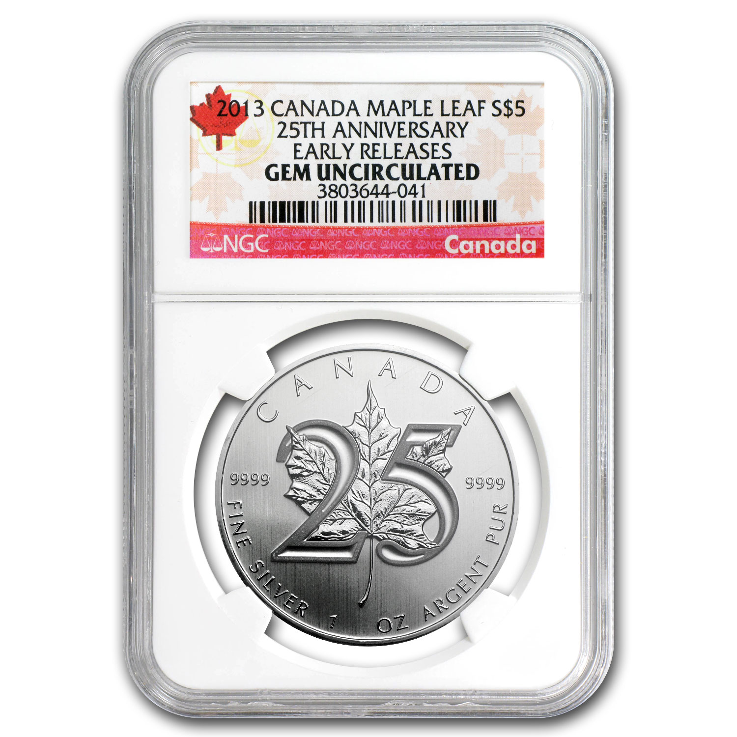 2013 1 oz Silver Canadian Maple Leaf Gem Unc NGC (ER) (25th Aniv)