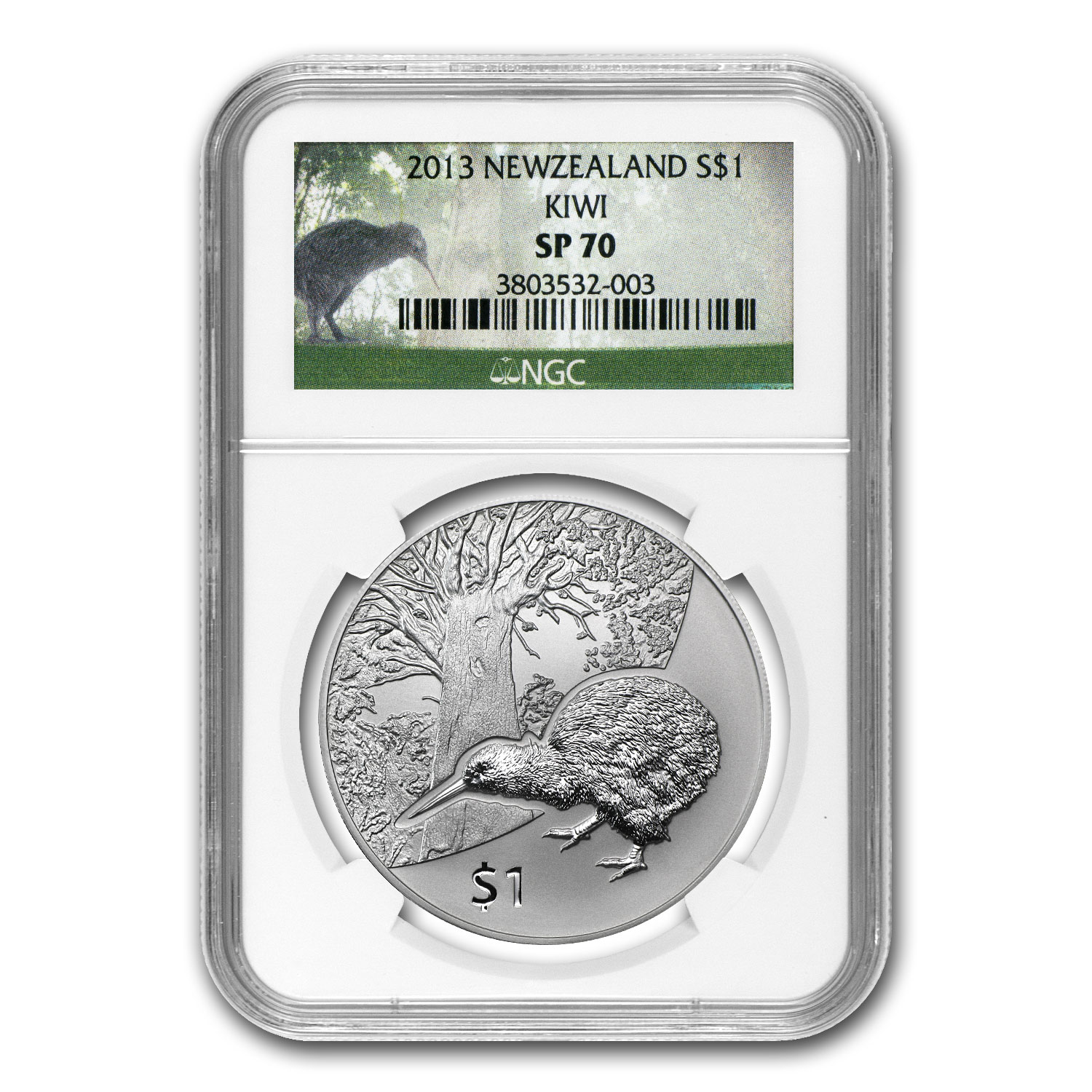 2013 1 oz Silver New Zealand Treasures $1 Kiwi SP-70 NGC