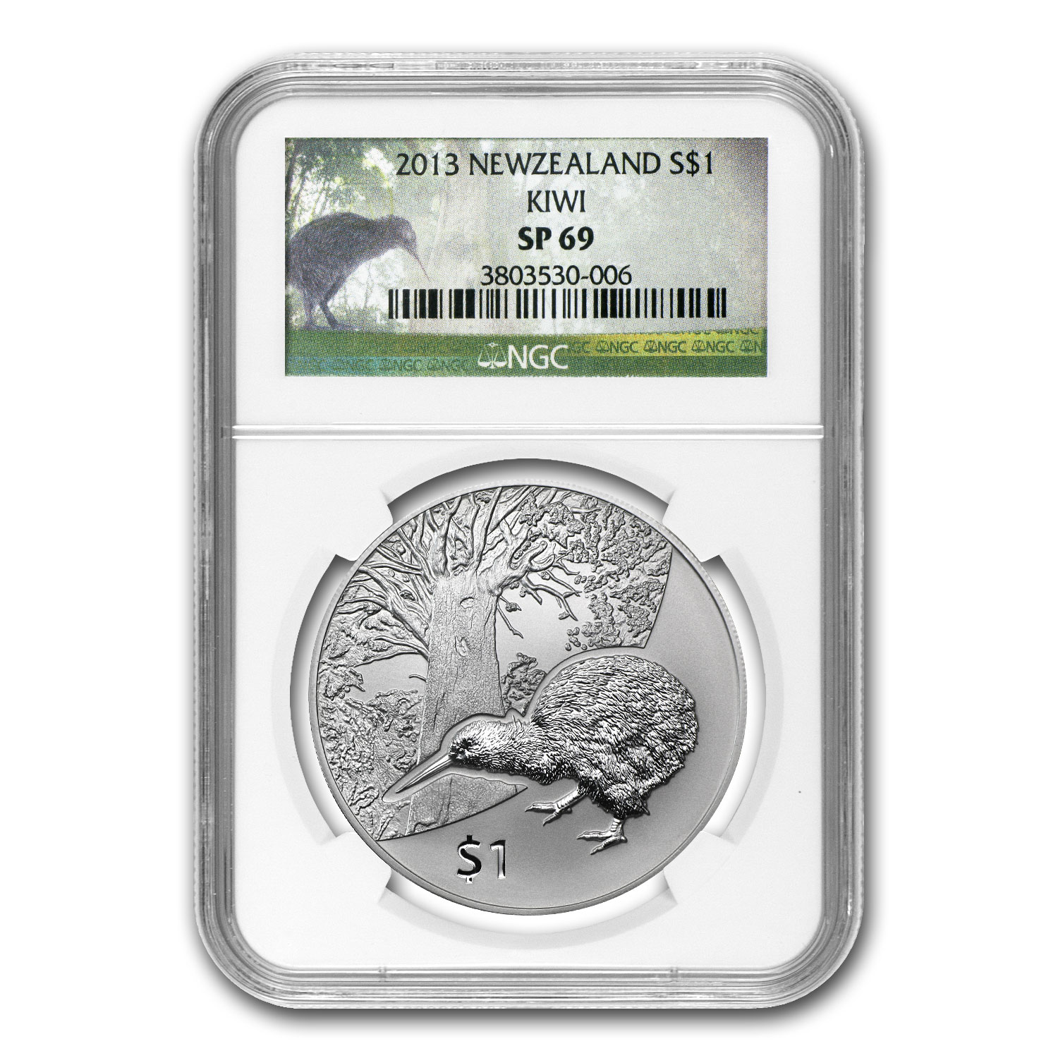 2013 1 oz Silver New Zealand Treasures $1 Kiwi NGC SP69