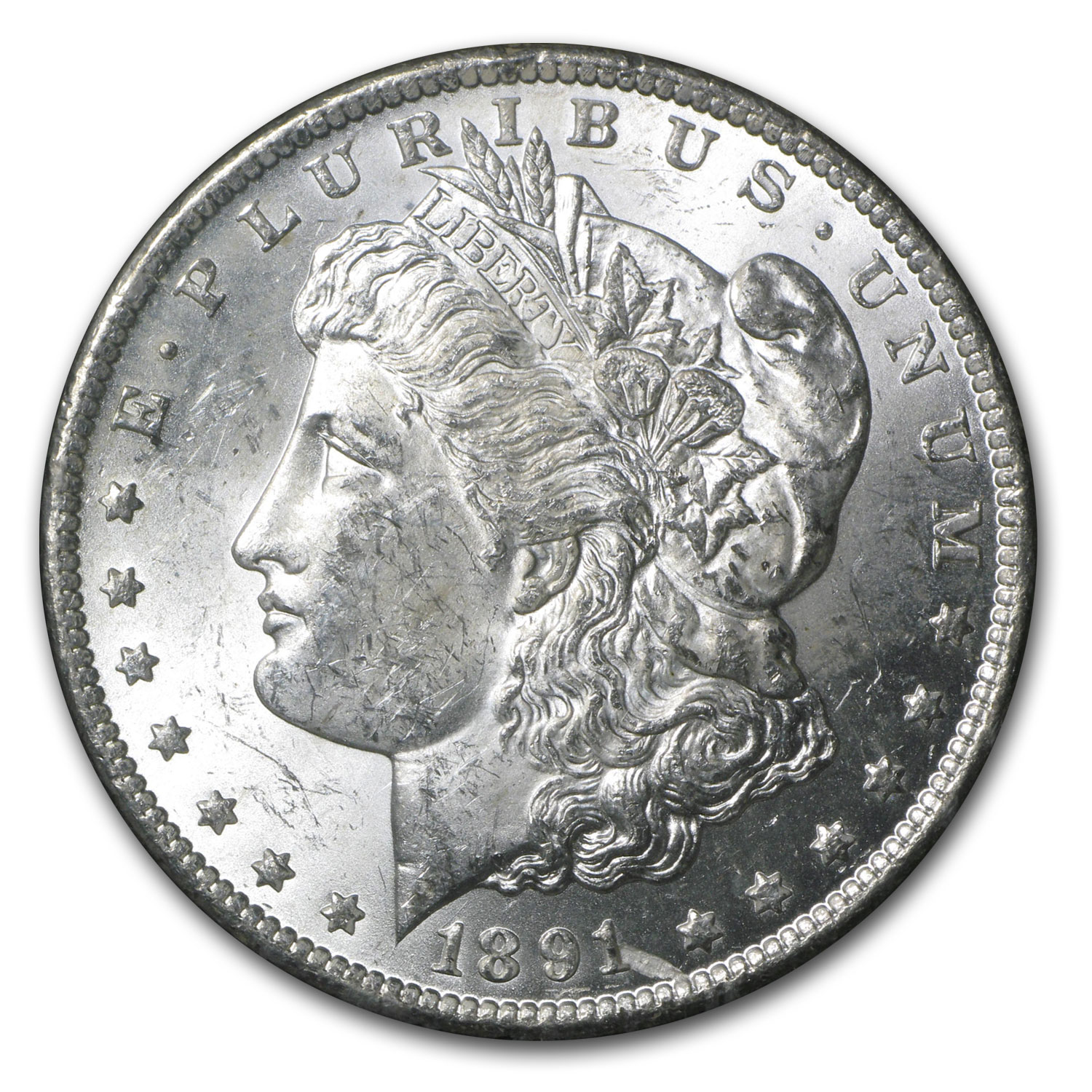 1891-CC Morgan Dollar MS-62 NGC (VAM-3, Spitting Eagle, GSA)