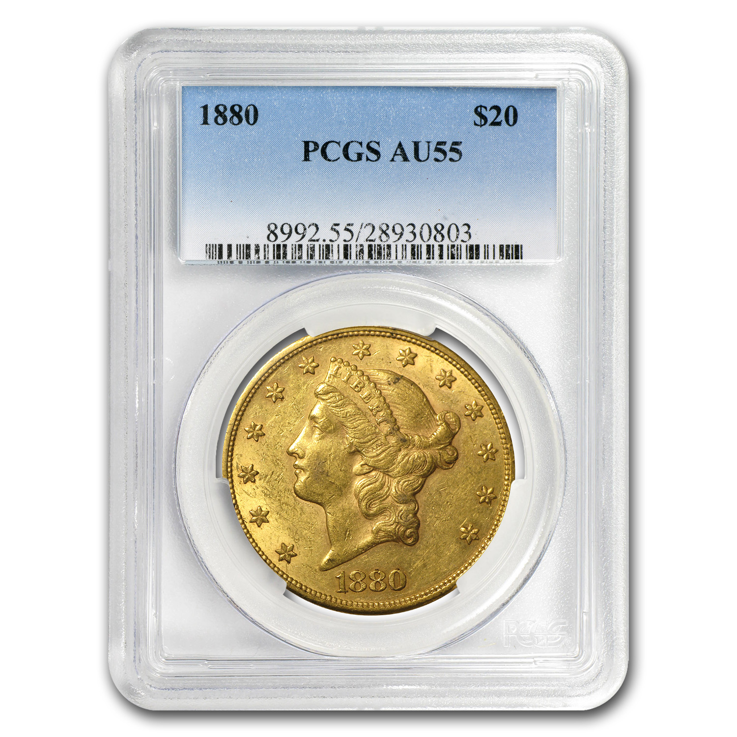 1880 $20 Gold Liberty Double Eagle - AU-55 PCGS