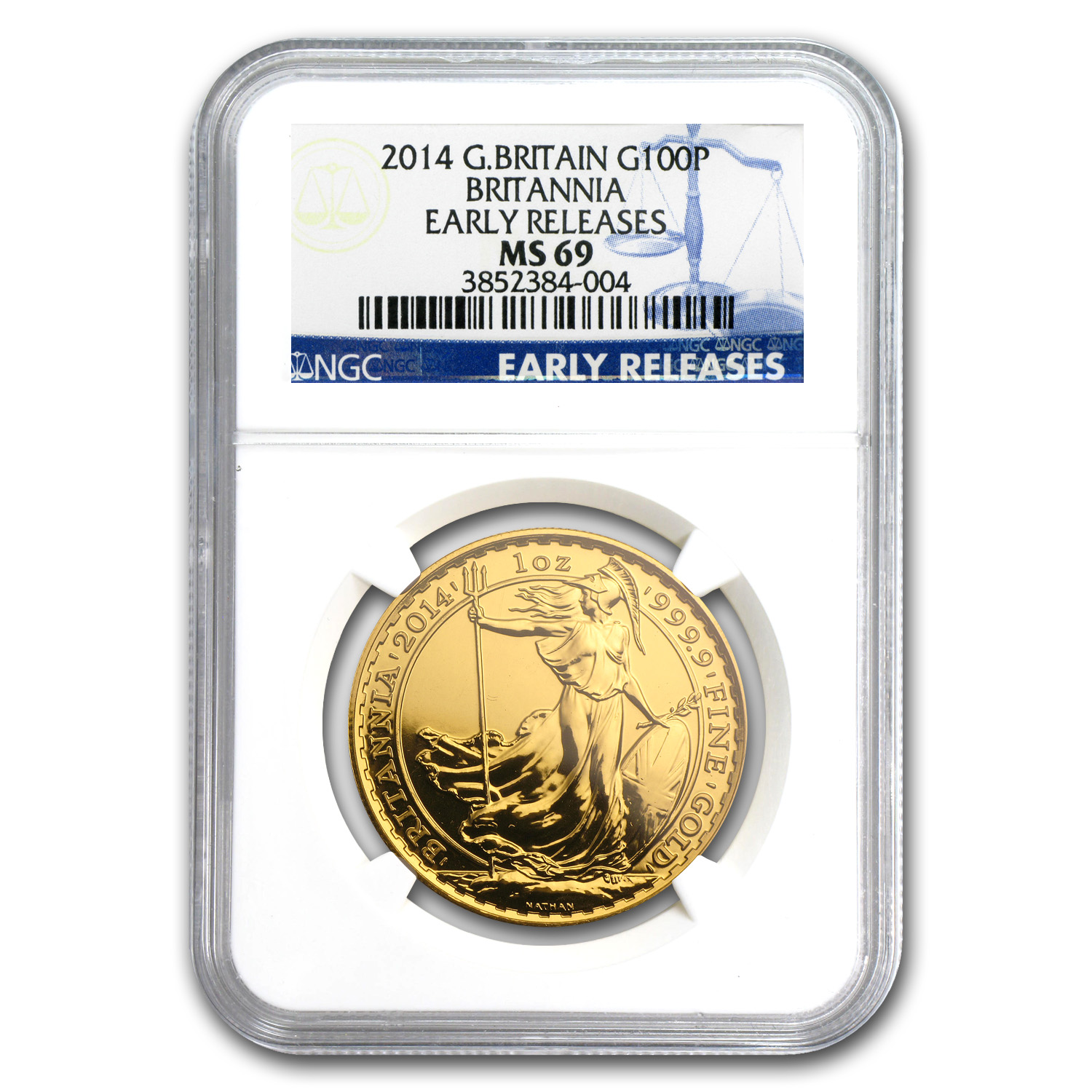 2014 Great Britain Gold 1 oz Britannia MS-69 NGC (Early Release)