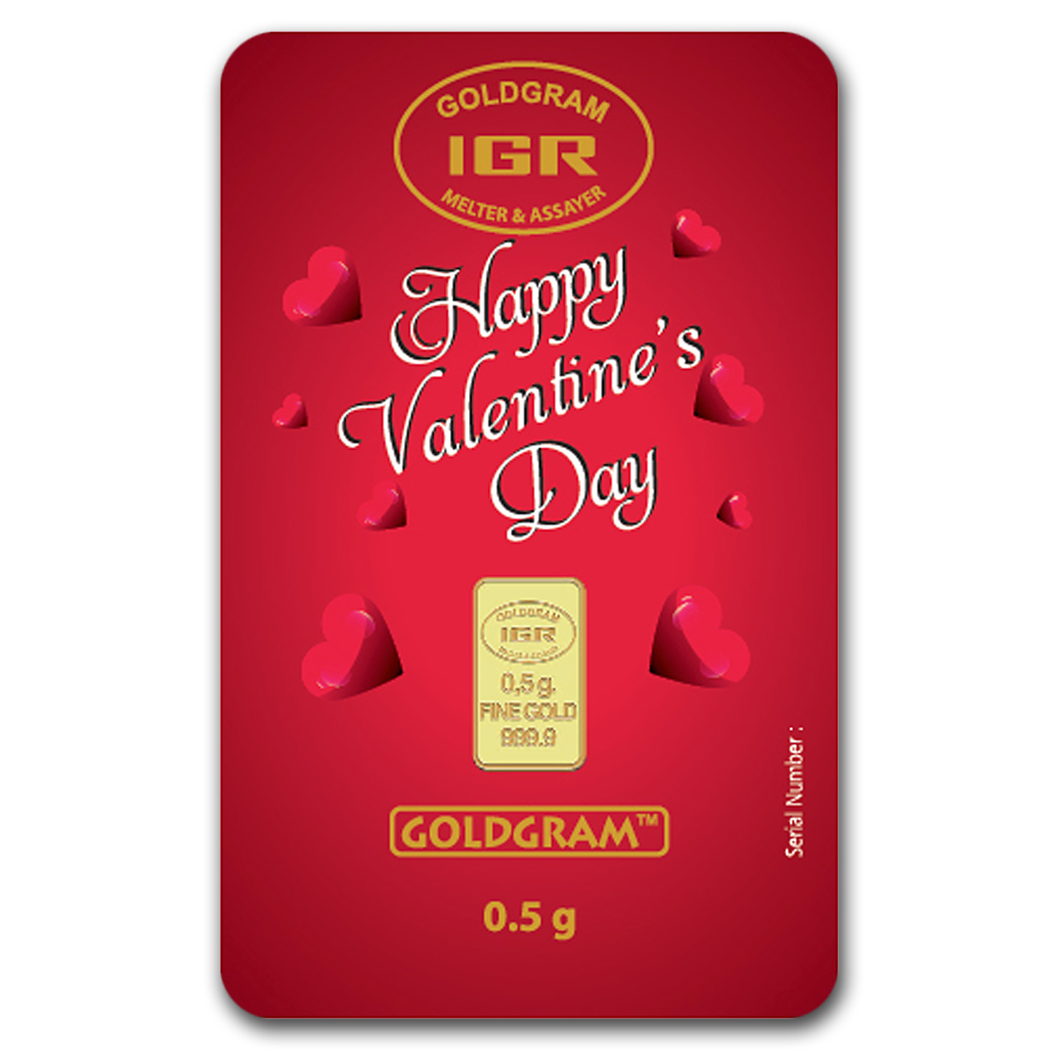 1/2 gram Gold Bar - (IGR) Happy Valentine's Day (In Assay)