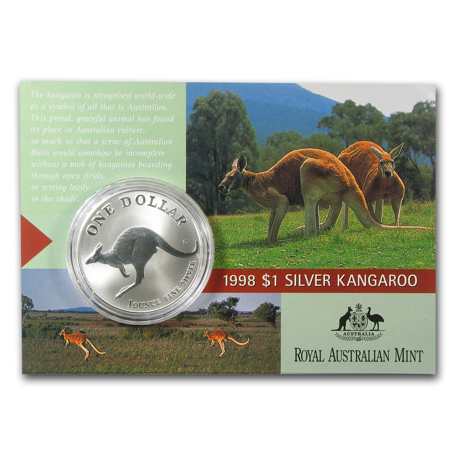 1993-2014 1 oz Silver Kangaroo Set (Complete set in display card)