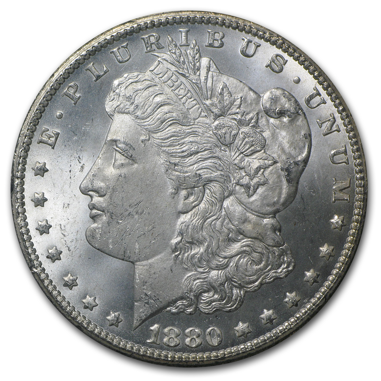 1880-CC Rev of 78 Morgan Dollar MS-64 NGC (Beautiful Toning, GSA)