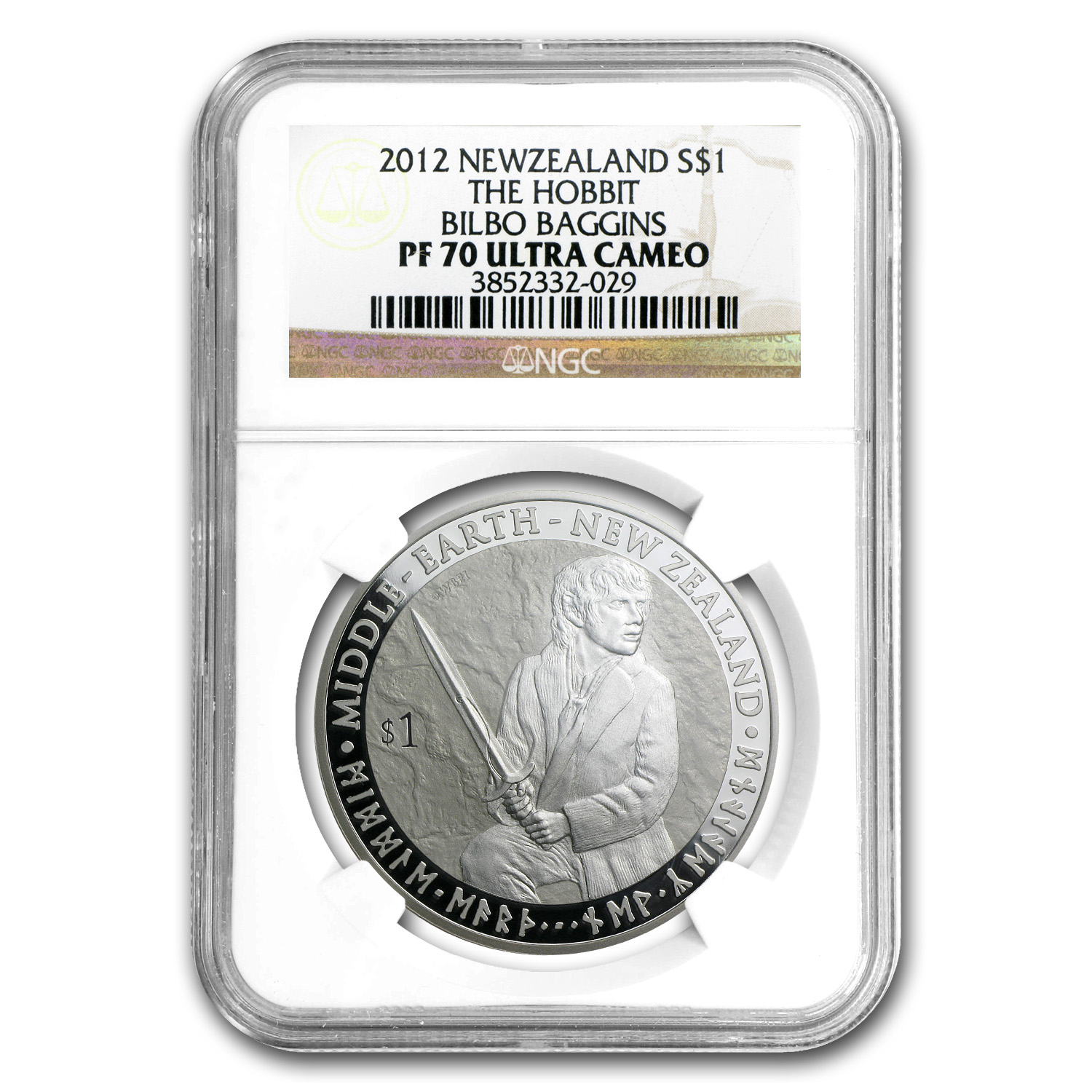2012 New Zealand 1 oz Silver $1 Bilbo Baggins PF-70 NGC