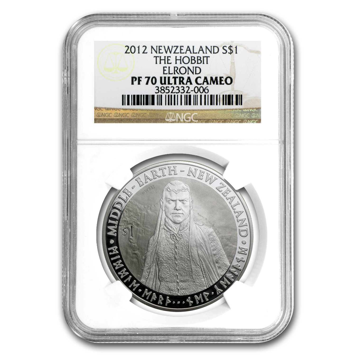 2012 1 oz Silver New Zealand $1 Elrond PF-70 NGC