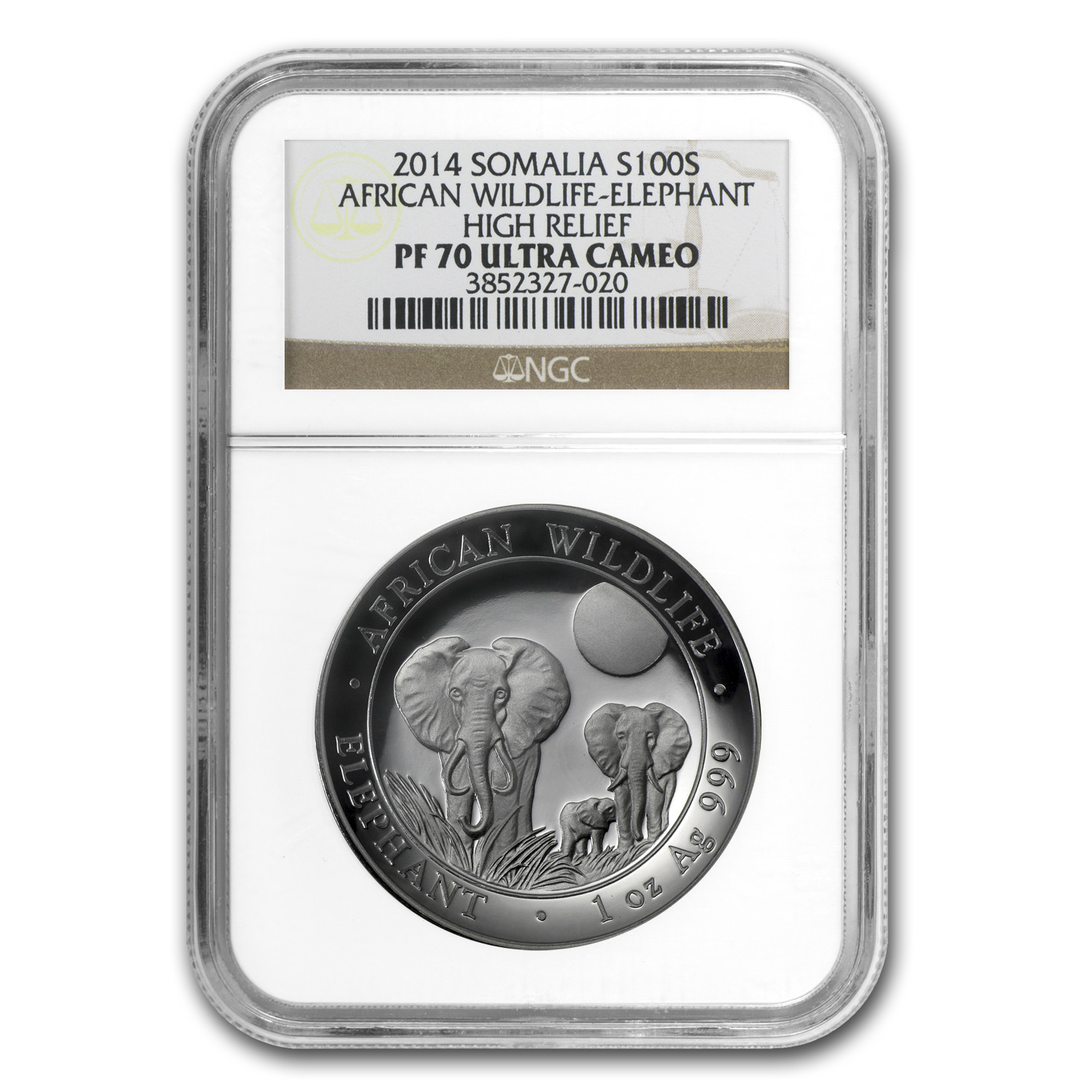 2014 Somalia 1 oz Silver Elephant PF-70 NGC (High Relief)