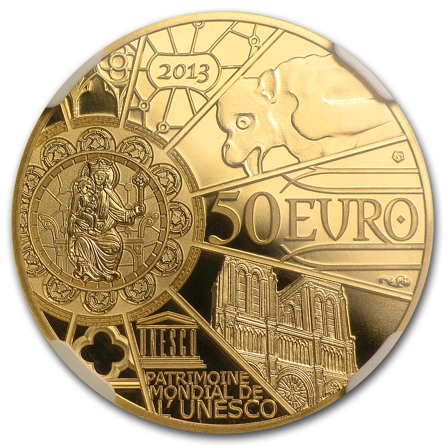 2013 1/4 oz Gold - 850th Anniv. Notre Dame de Paris - PF-70 NGC