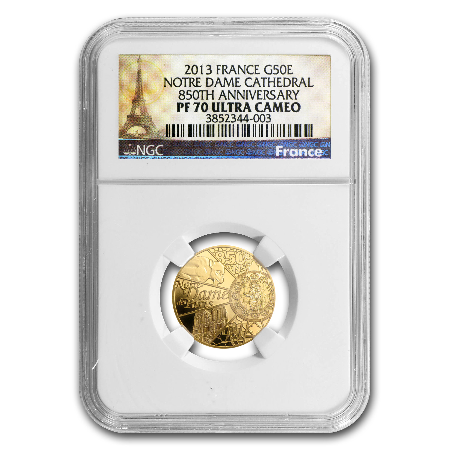 2013 1/4 oz Gold 850th Anniv Notre Dame de Paris PF-70 NGC