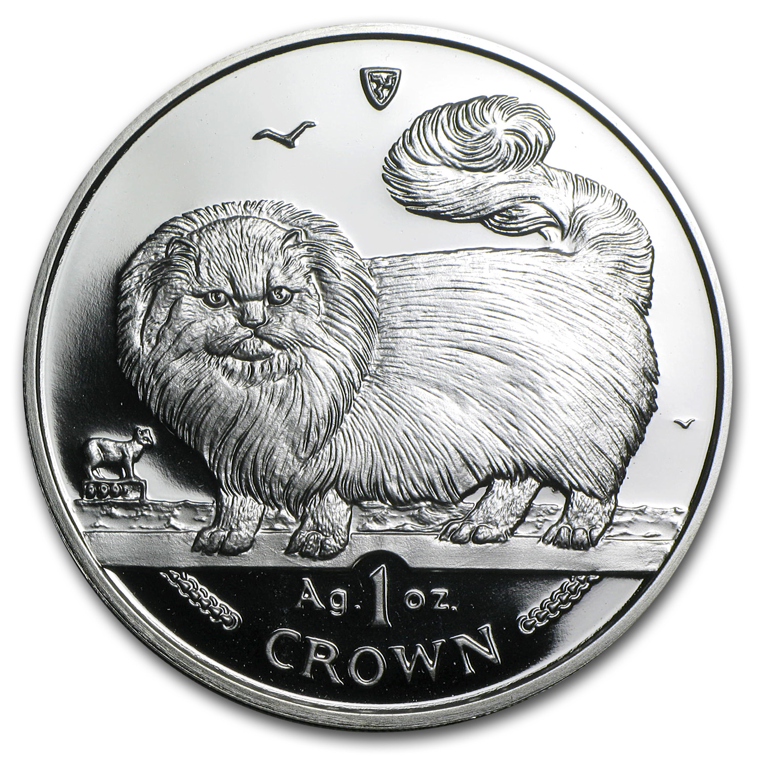 Isle of Man 1997 1 Crown Silver Proof Long Haired Smoke Cat