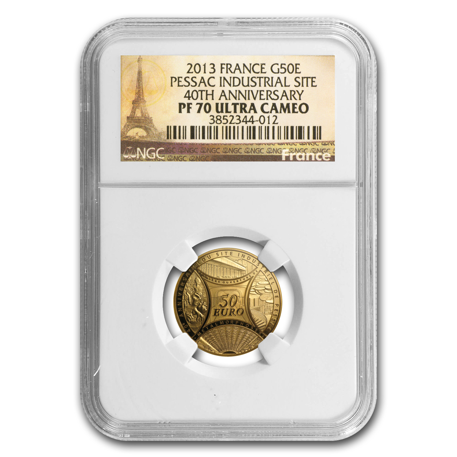 2013 1/4 oz Gold 40th Anniv of Pessac's Industrial Site PF-70 NGC