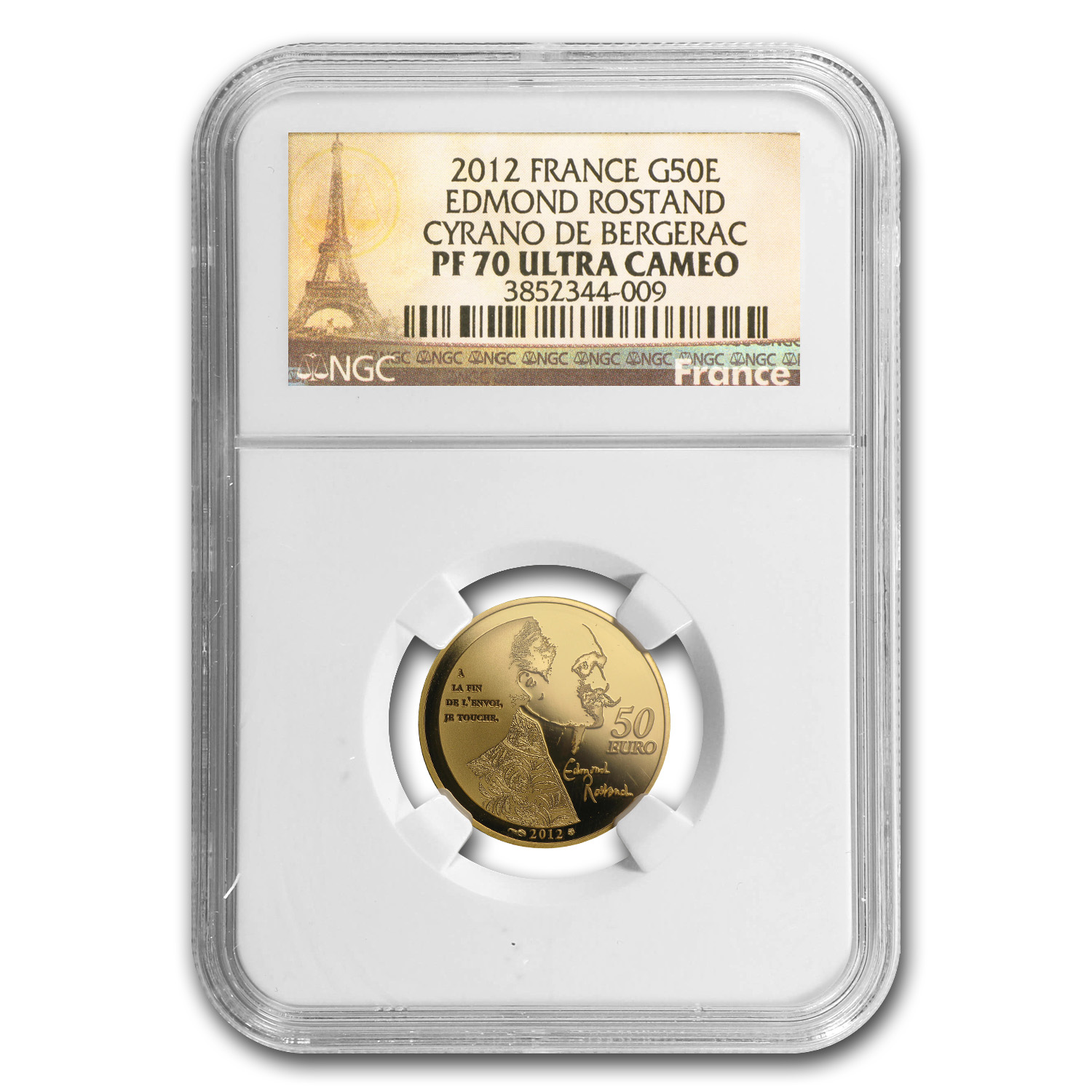 2012 1/4 oz Gold Heroes of French Literature: Cyrano PF-70 NGC