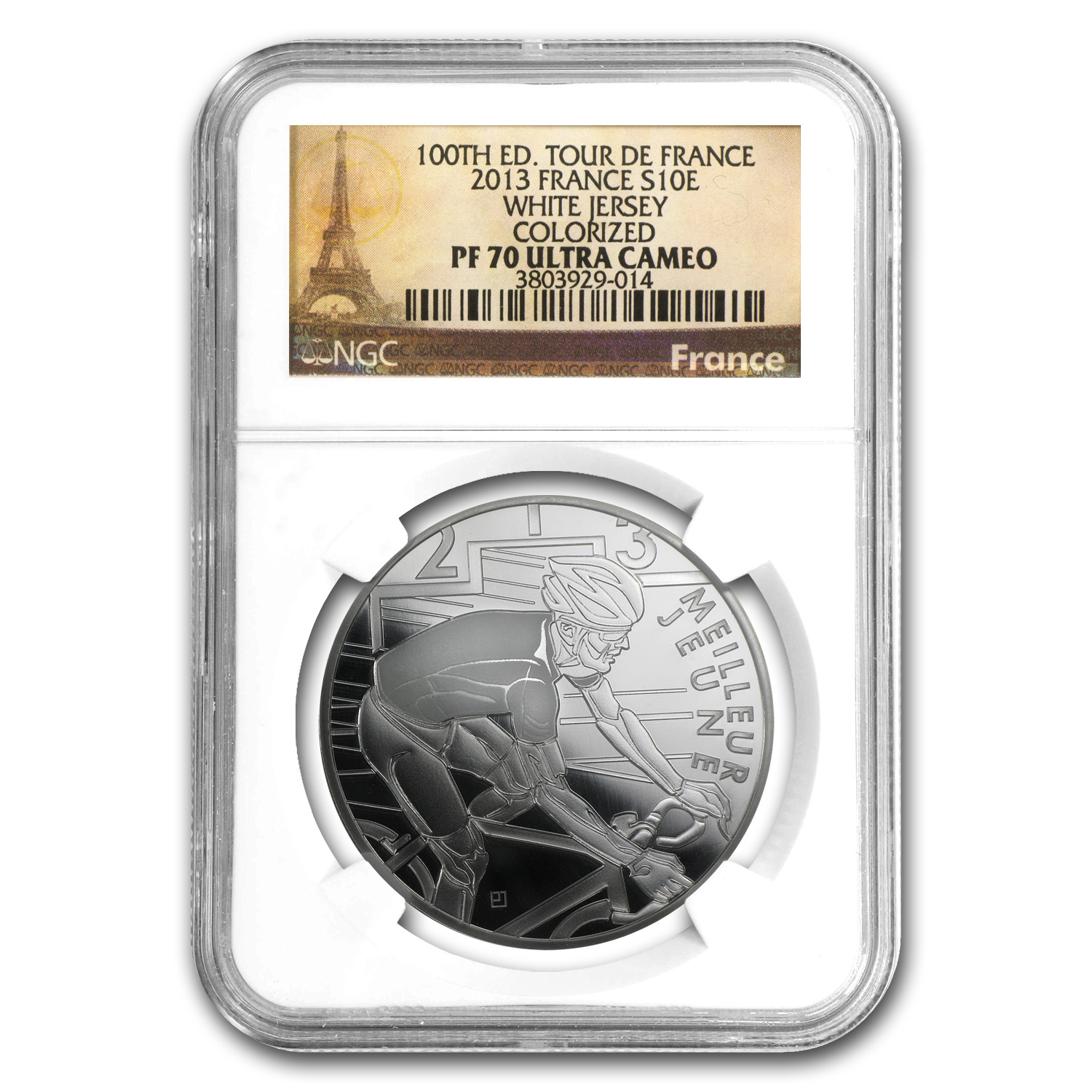 2013 Silver €10 100th Tour de France White Jersey PF-70 NGC