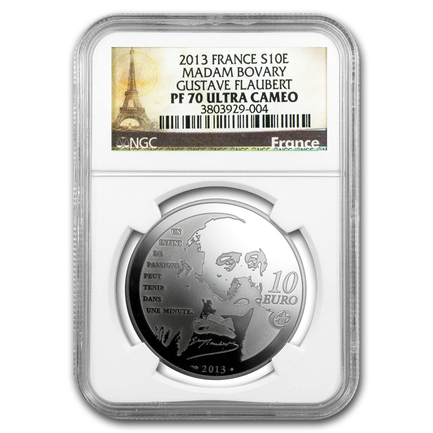2013 €10 Silver Heroes of French Lit PF-70 NGC (Madame Bovary)