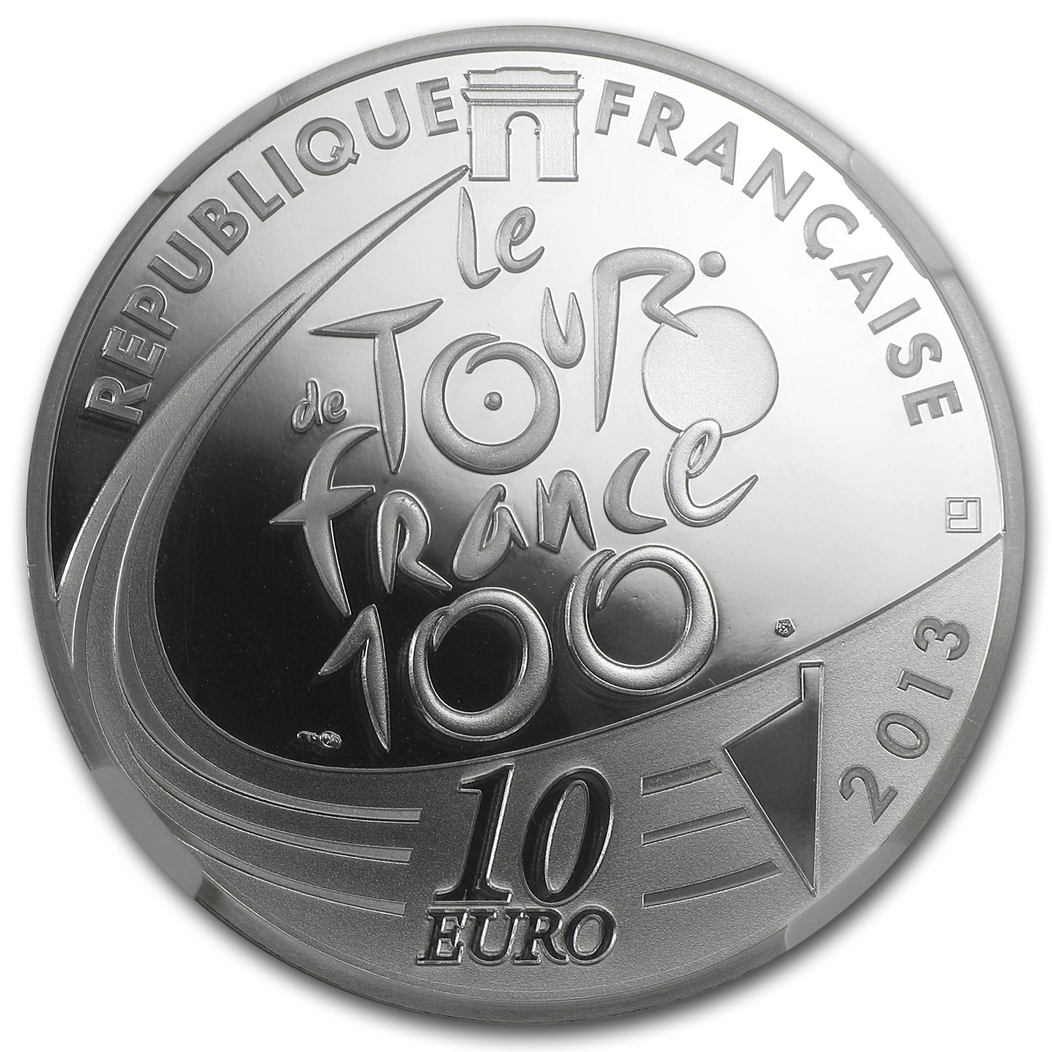 2013 Silver €10 100th Tour de France Red Spotted Jersey PF-70 NGC