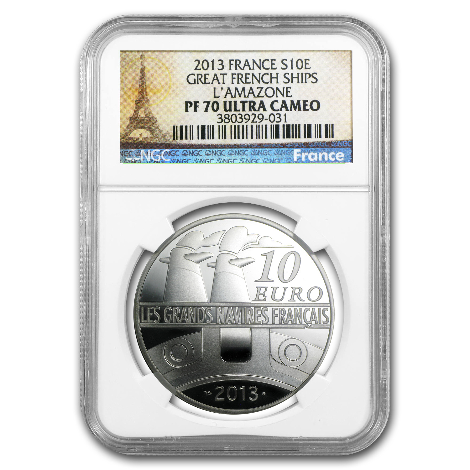 2013 Silver €10 Great French Ships PF-70 NGC (L'Amazone)