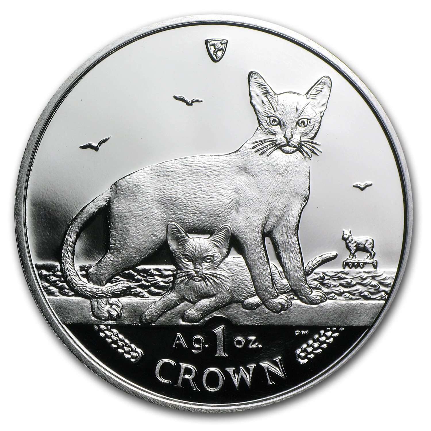 Isle of Man 2010 1 Crown Silver Abyssinian Cat Proof