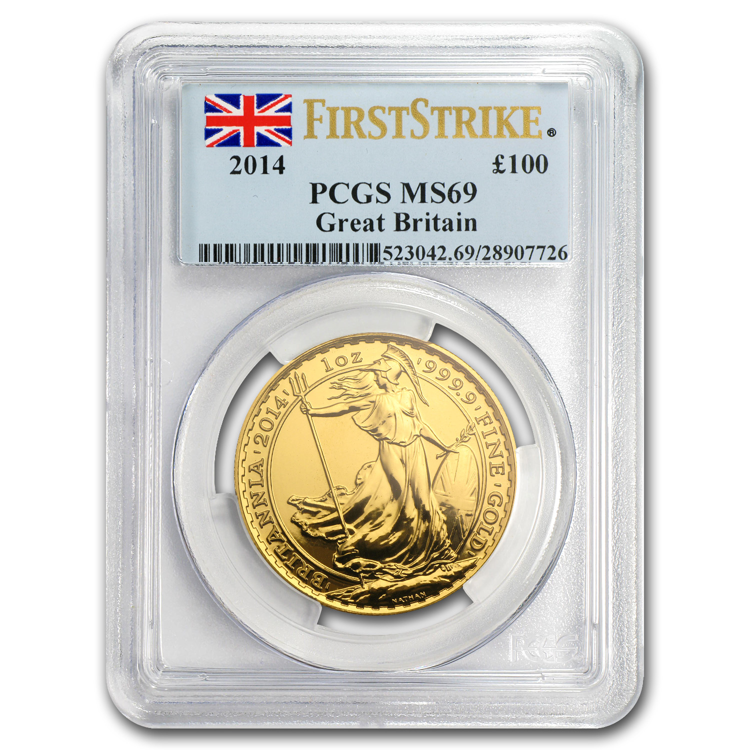 2014 Great Britain 1 oz Gold Britannia MS-69 PCGS (First Strike)