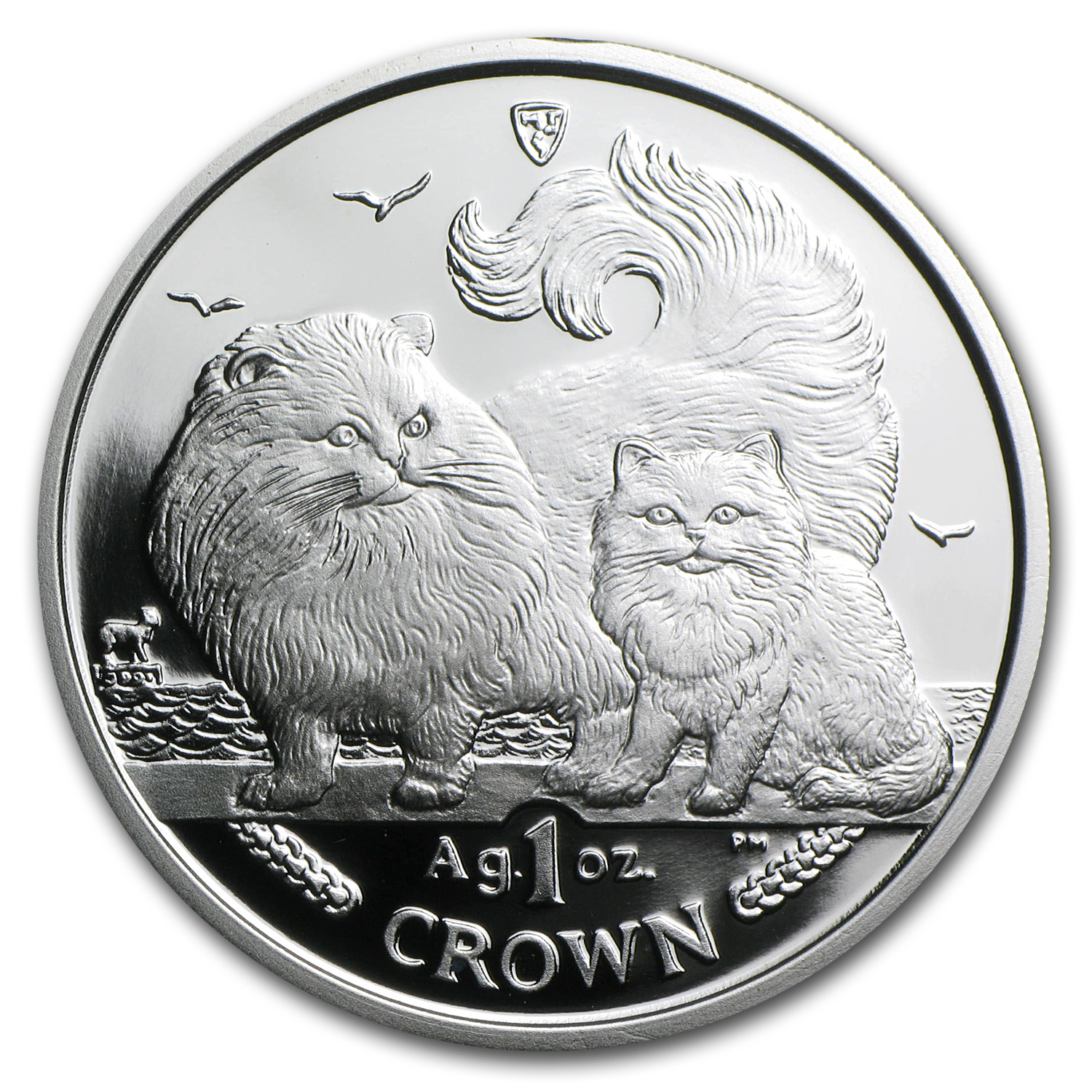 Isle of Man 2009 1 Crown Silver Chinchilla Cat Proof