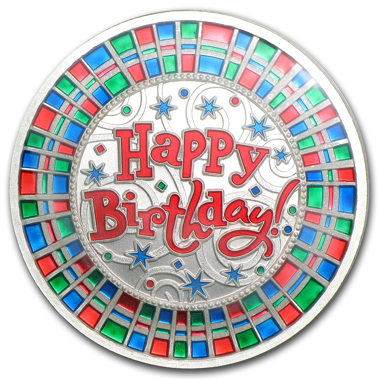 1 oz Silver Rnd - Happy Birthday Mosaic (Enameled, Box & Capsule)