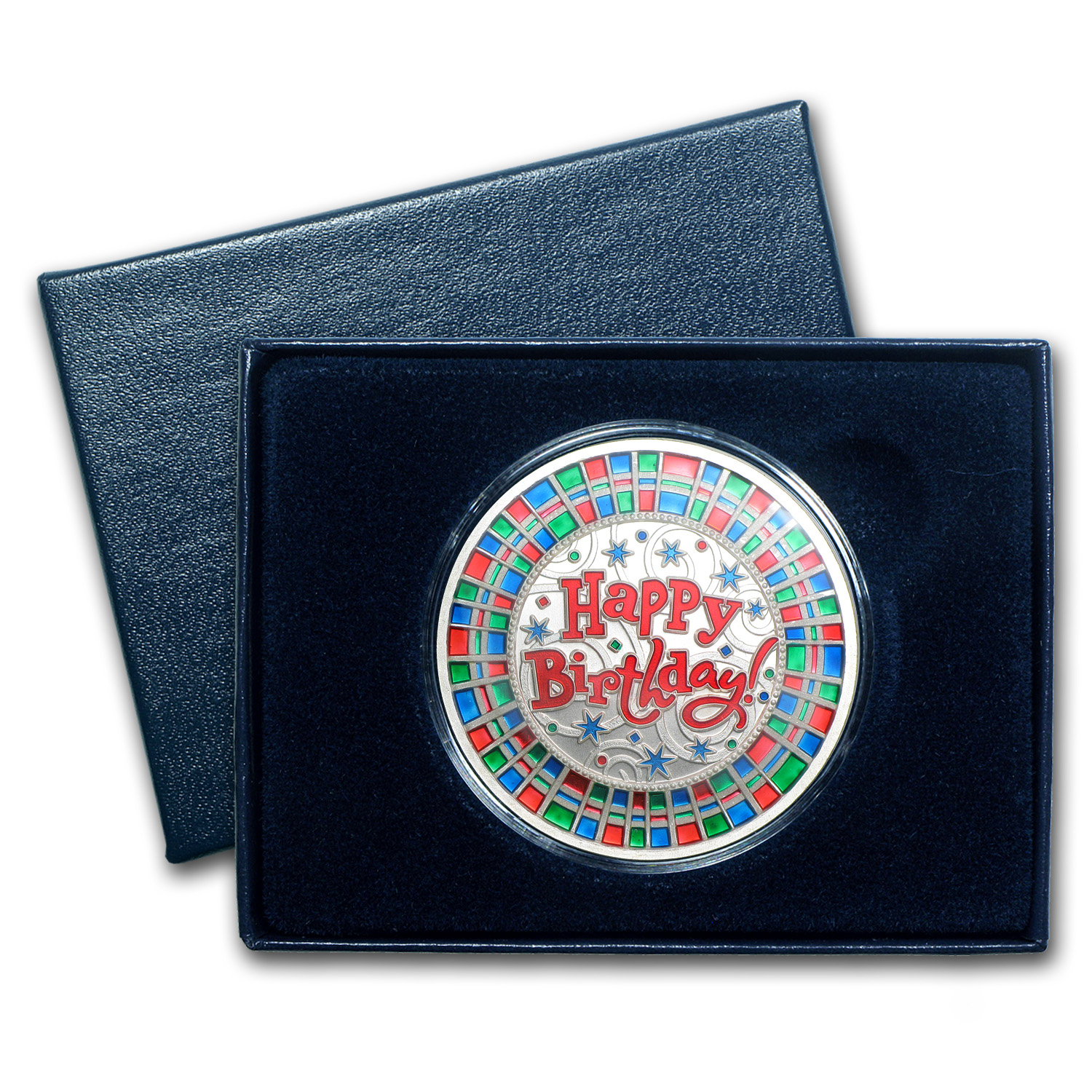 1 oz Happy Birthday Mosaic Enameled Silver Round (w/ Box & Cap)